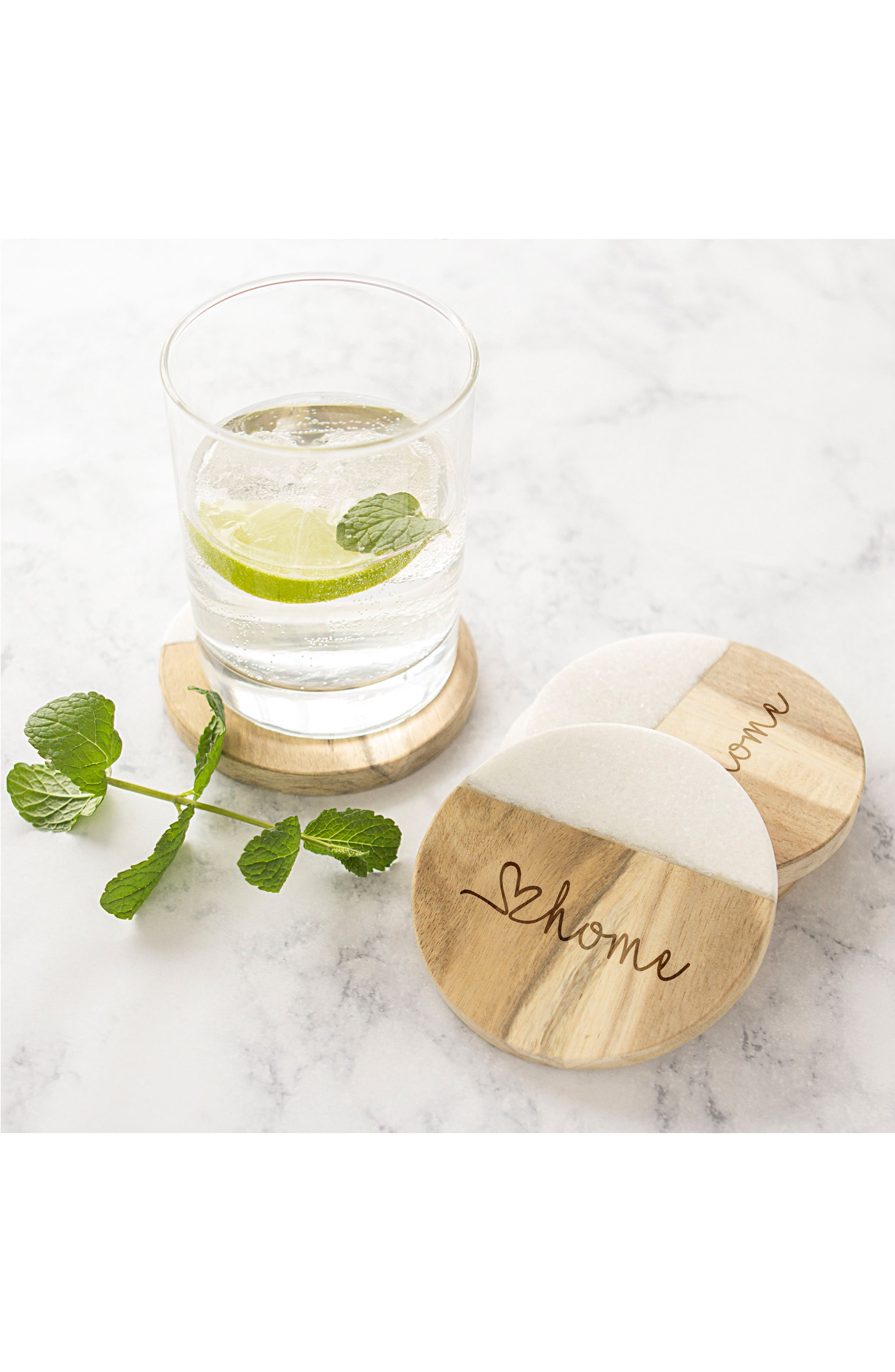 Love Home Set of 4 Marble & Acacia Wood Coasters,                             Alternate thumbnail 4, color,                             Brown