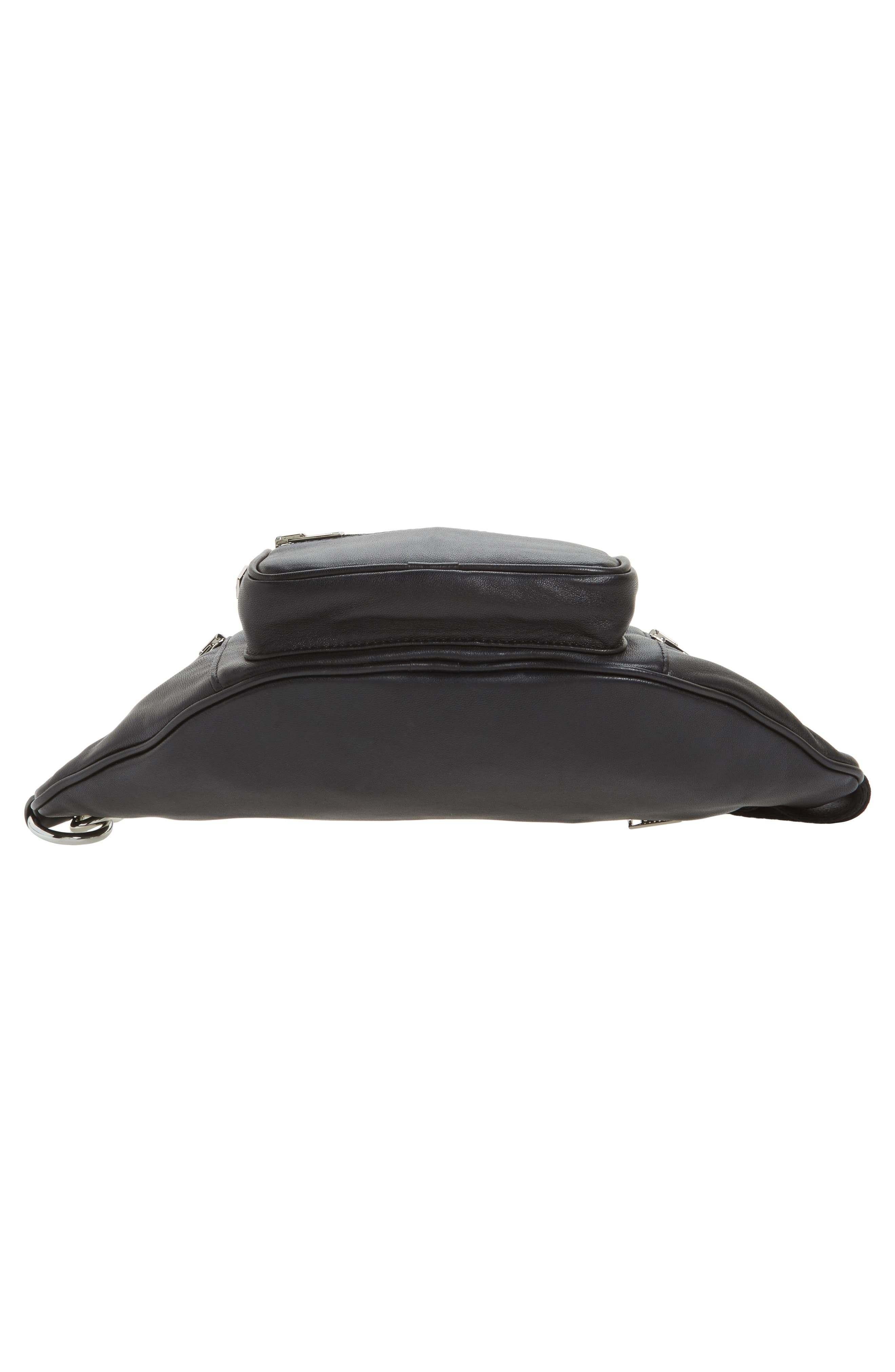 Washed Leather Fanny Pack,                             Alternate thumbnail 6, color,                             Black