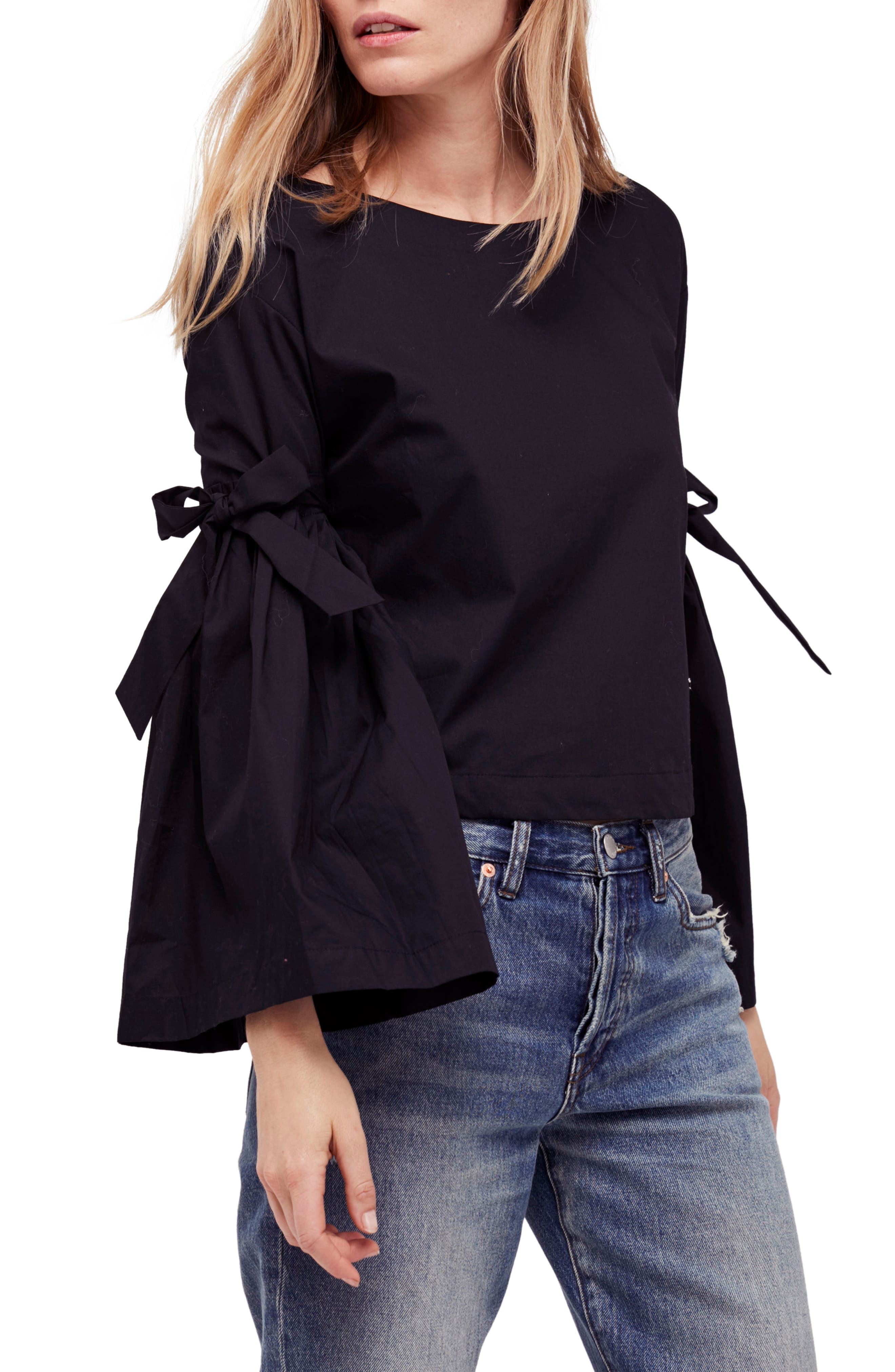 So Obviously Yours Bell Sleeve Top,                         Main,                         color, Black