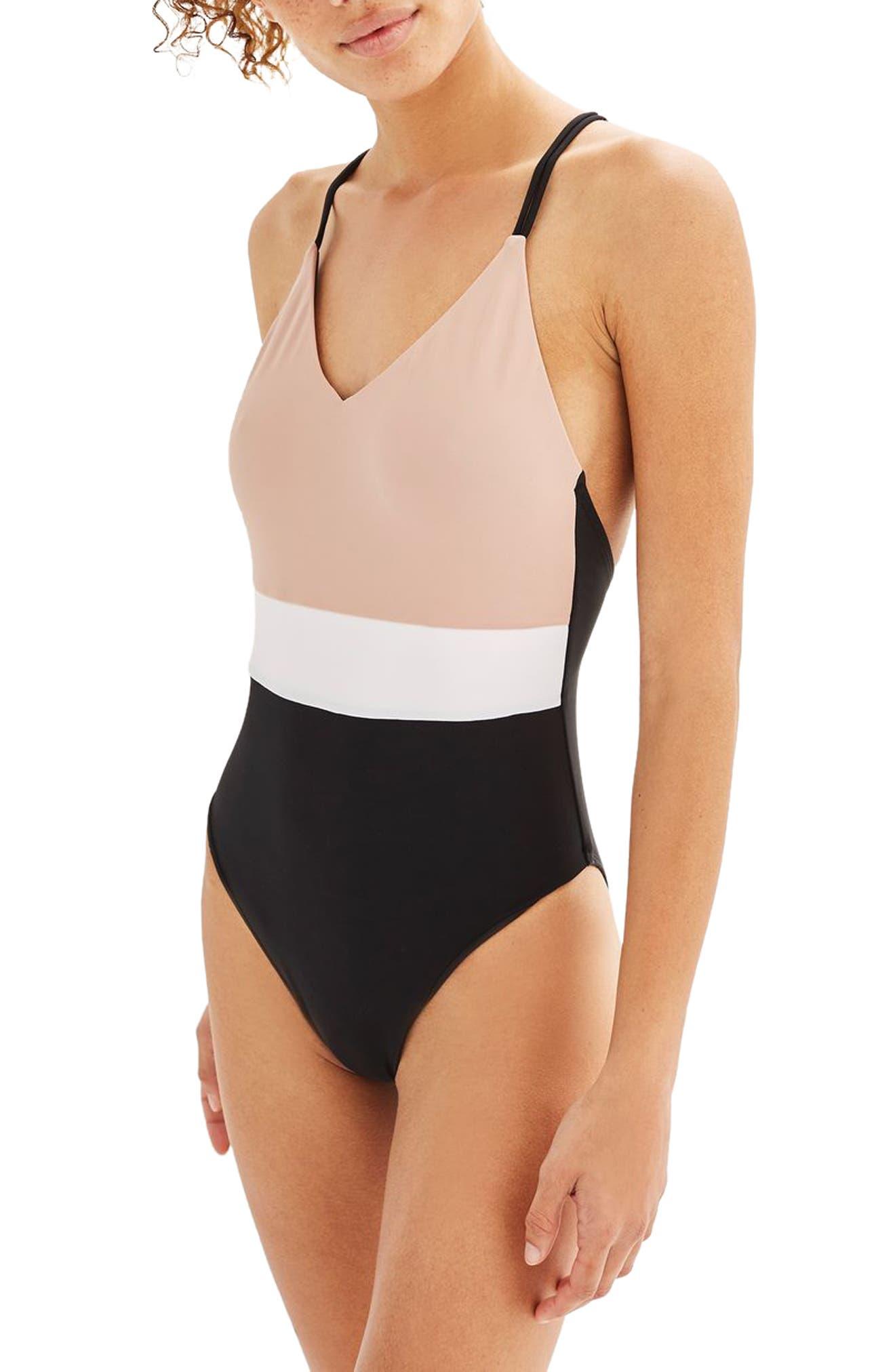 Topshop Colorblock One-Piece Swimsuit
