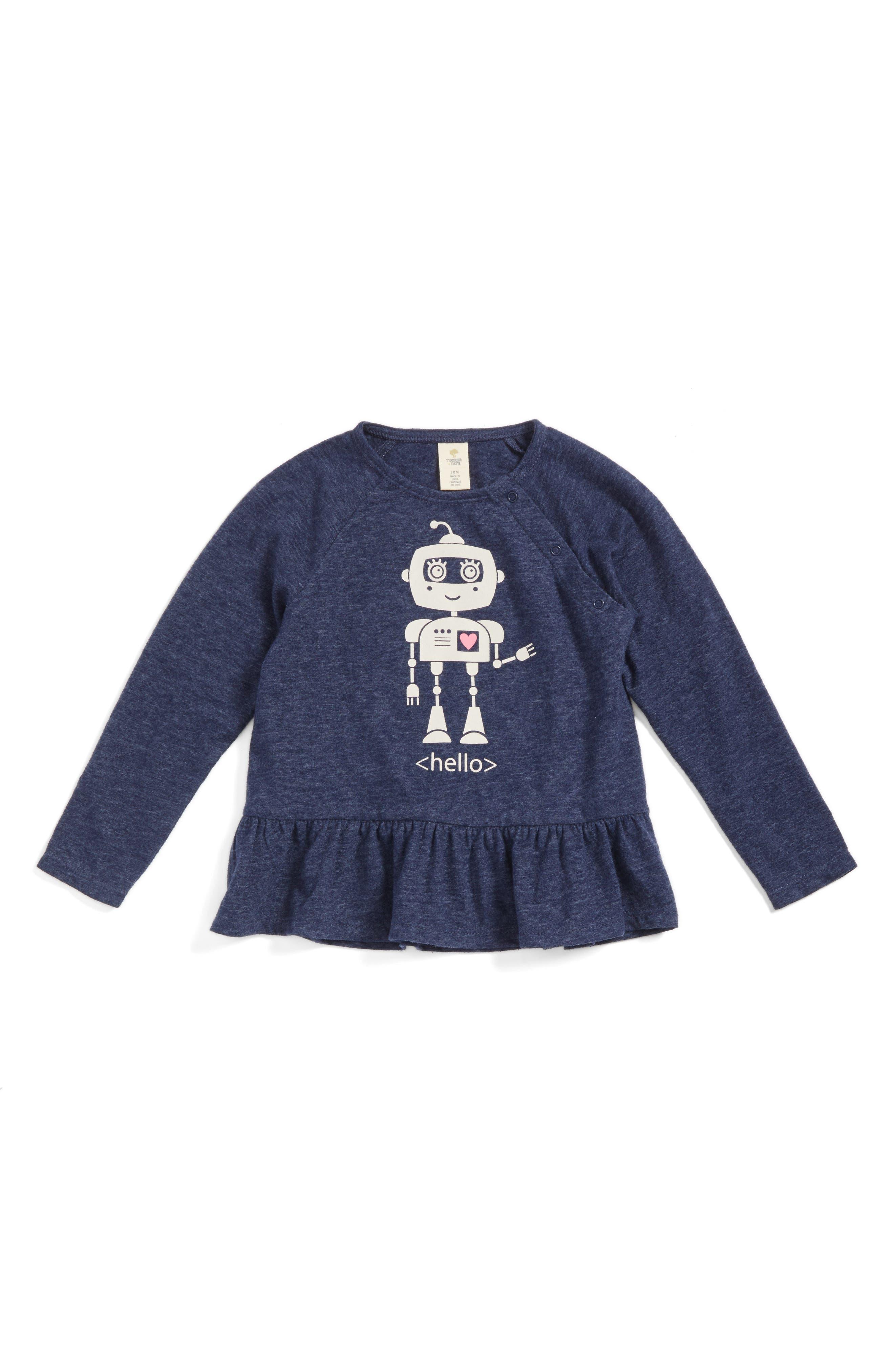 Tucker + Tate Robot Graphic Peplum Tee (Baby Girls)