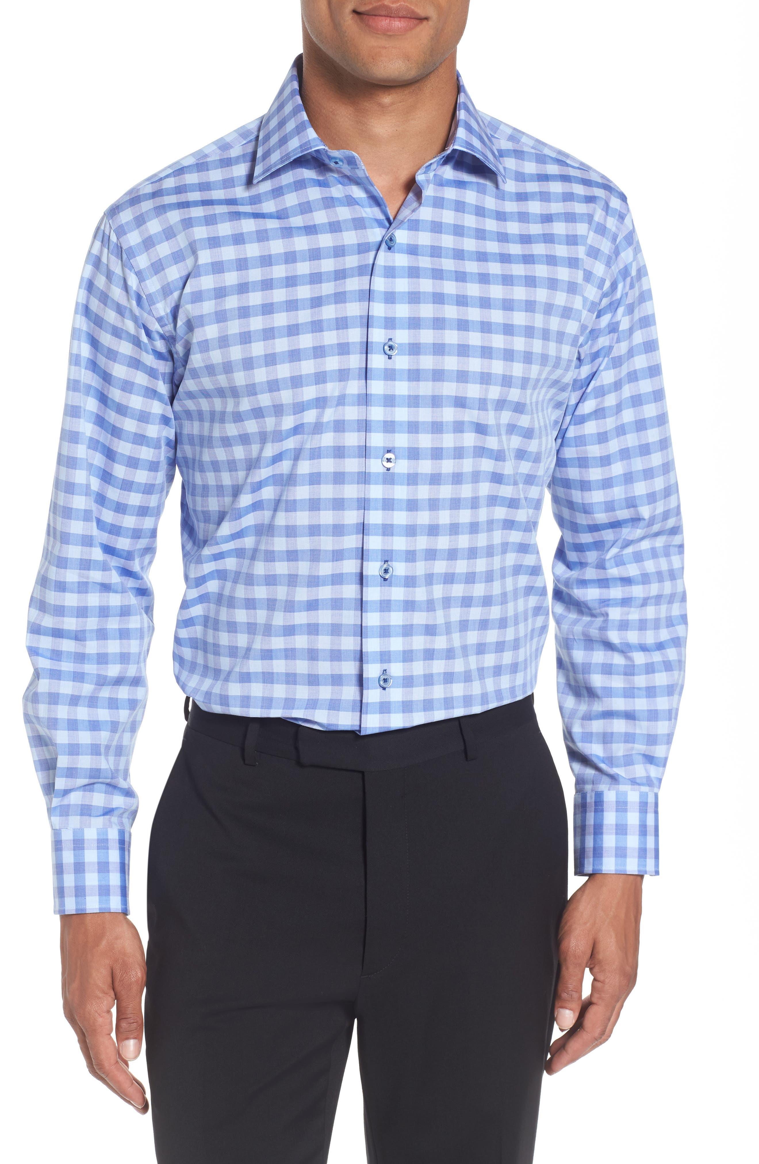 Trim Fit Check Dress Shirt,                             Main thumbnail 1, color,                             Blue/ Purple