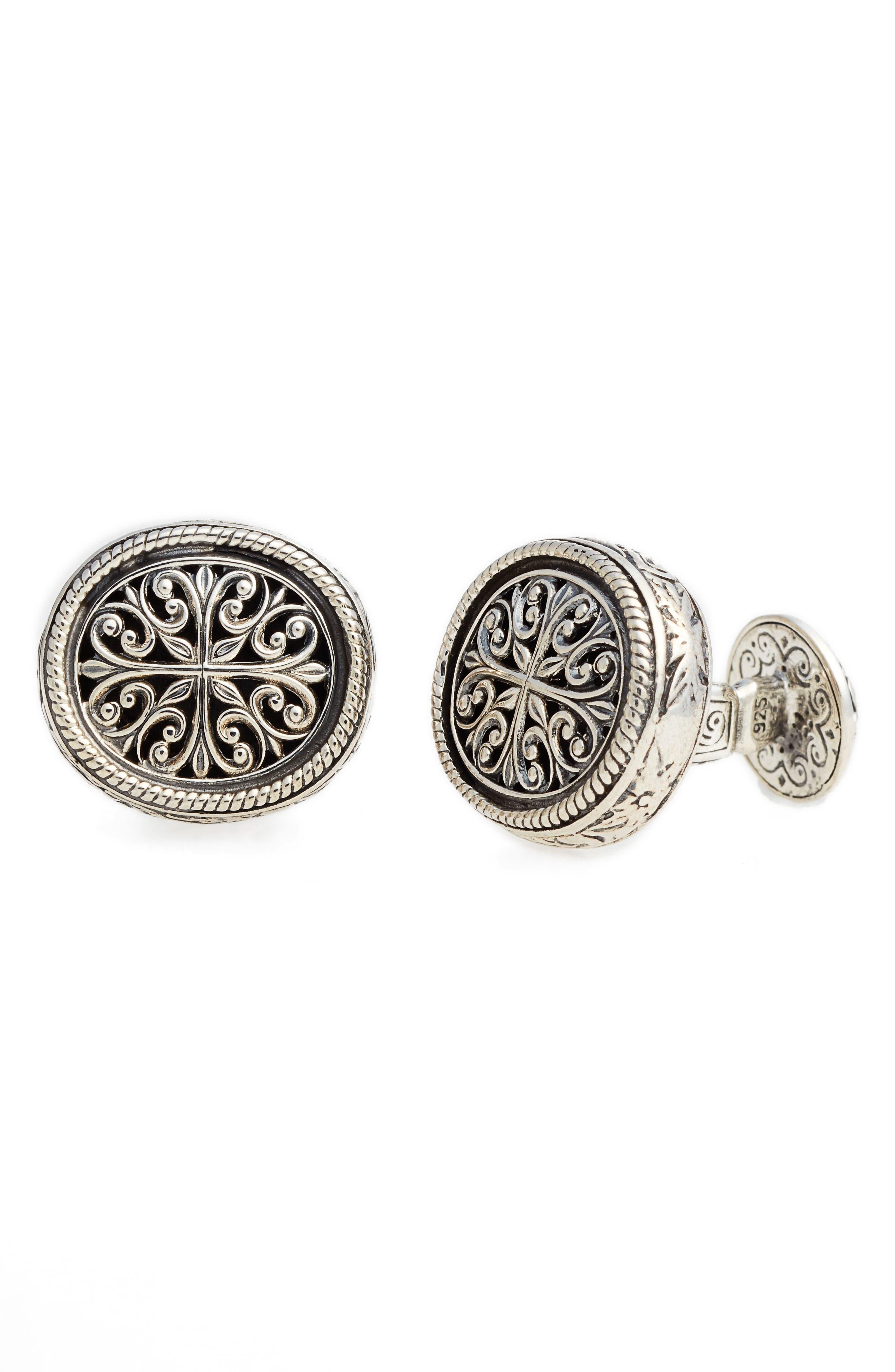 Filigree Oval Cufflinks,                         Main,                         color, Silver