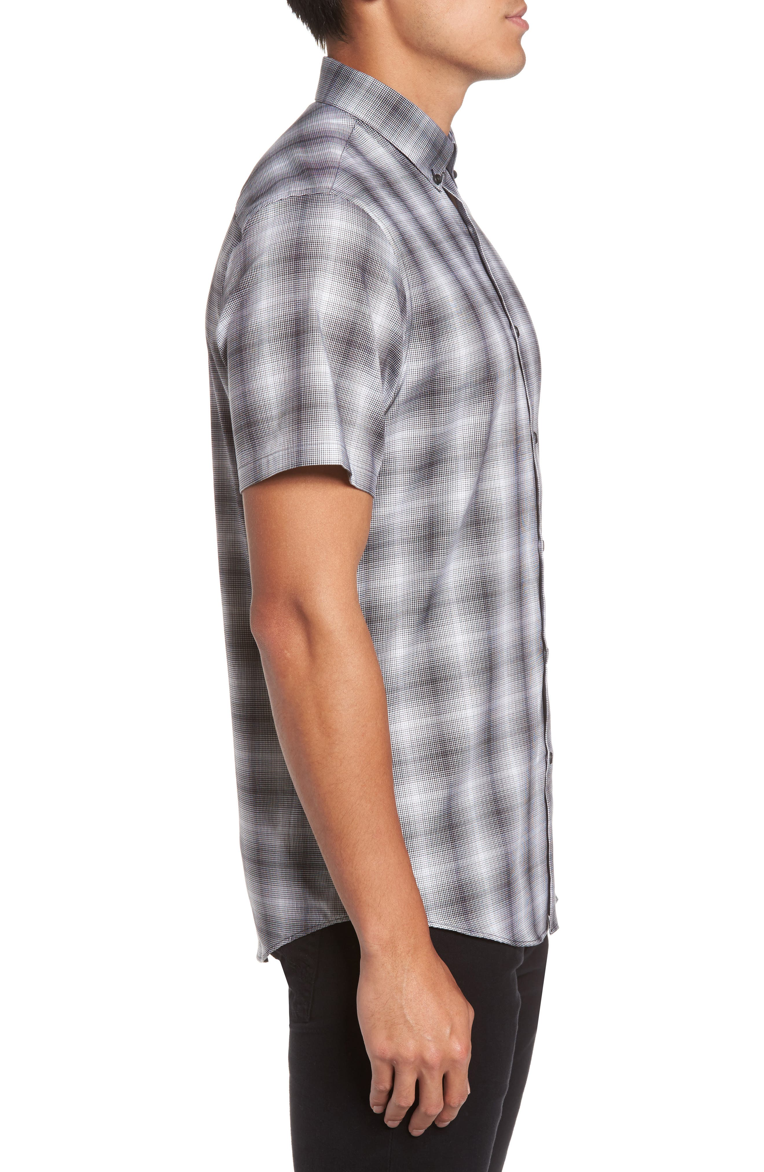 Non-Iron Moiré Plaid Woven Shirt,                             Alternate thumbnail 3, color,                             Black Houndstooth Plaid