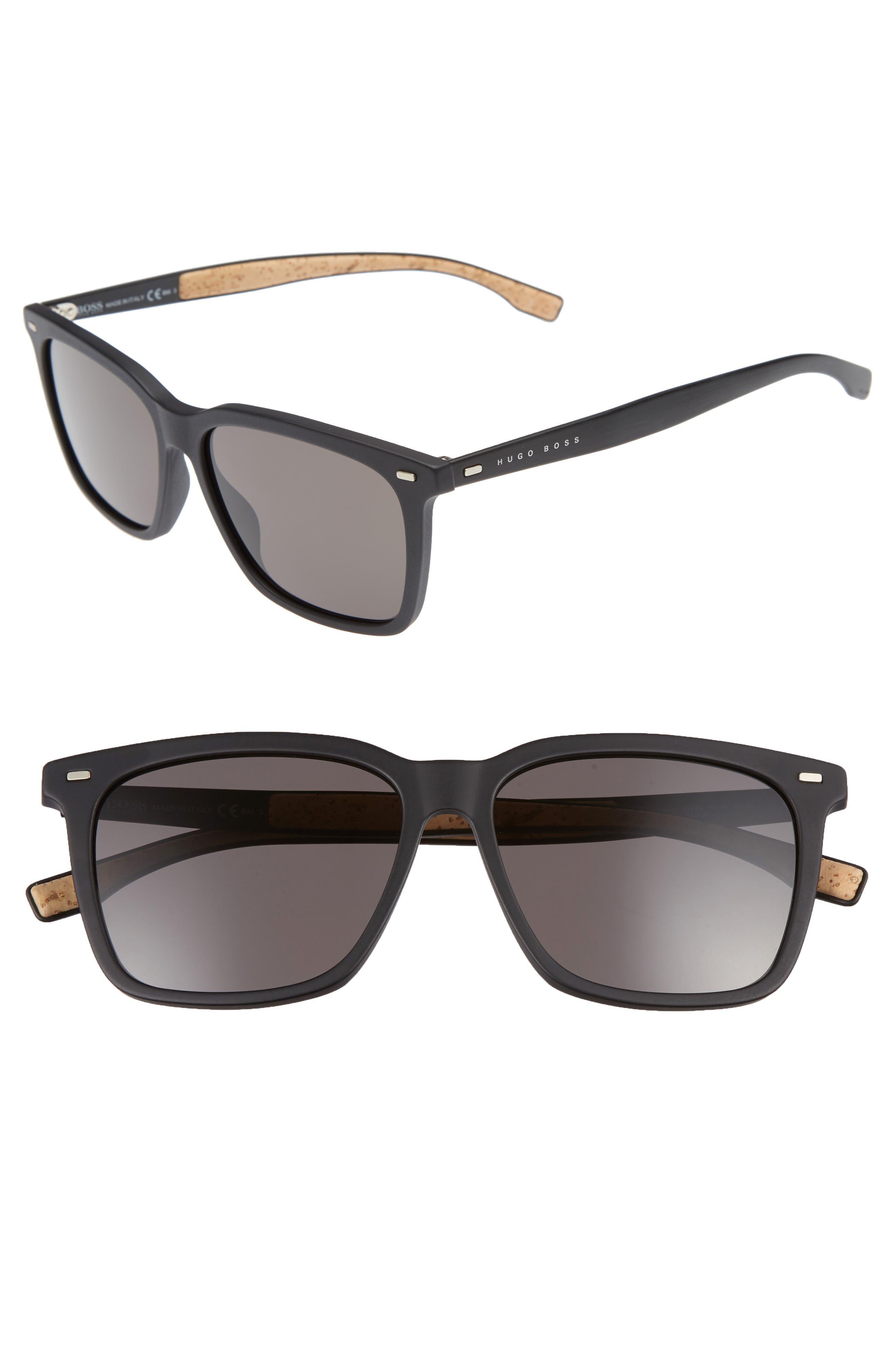 56mm Sunglasses,                         Main,                         color, Black/ Brown Grey
