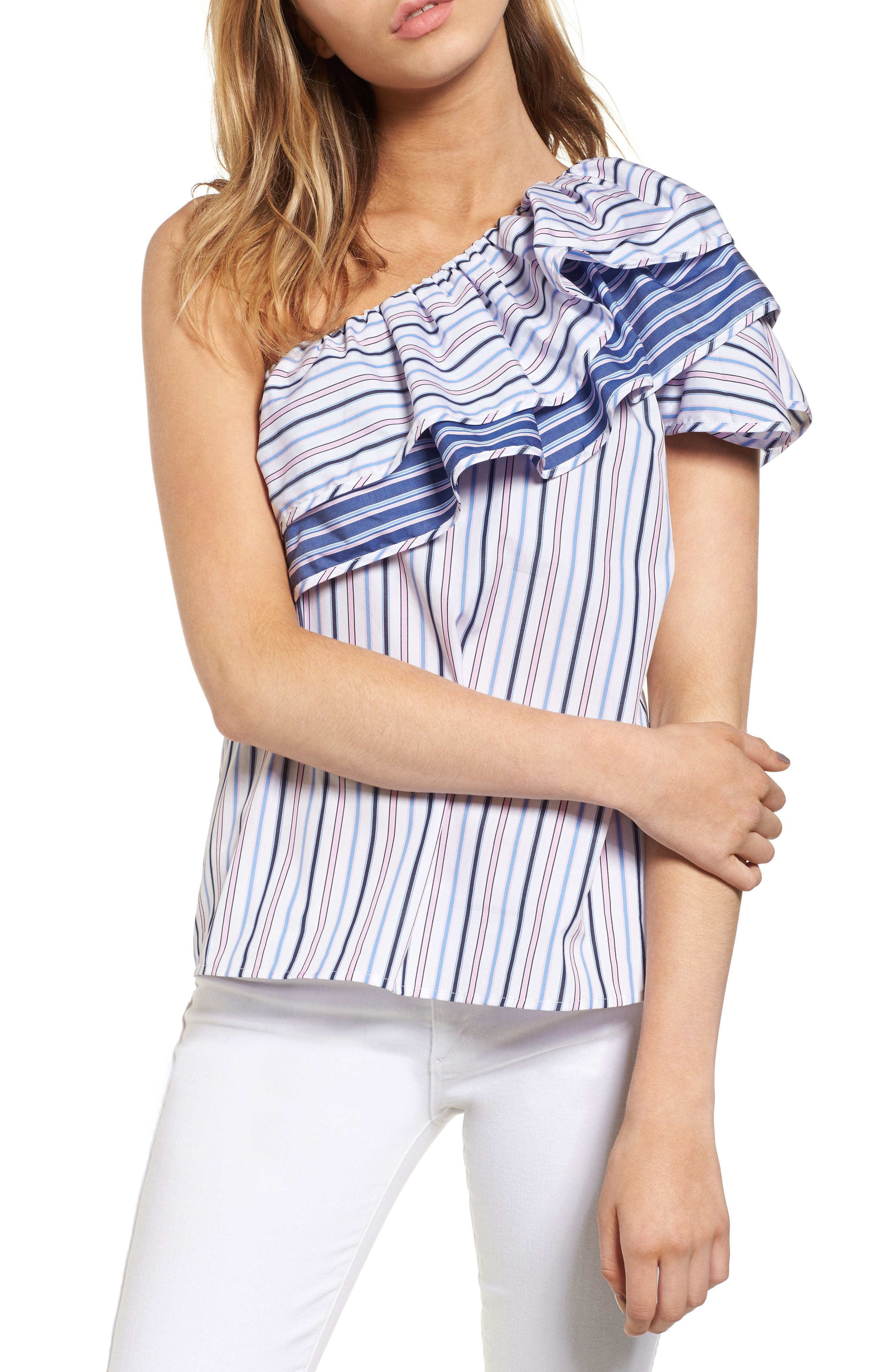 Mary One-Shoulder Top,                         Main,                         color, Multi Stripe