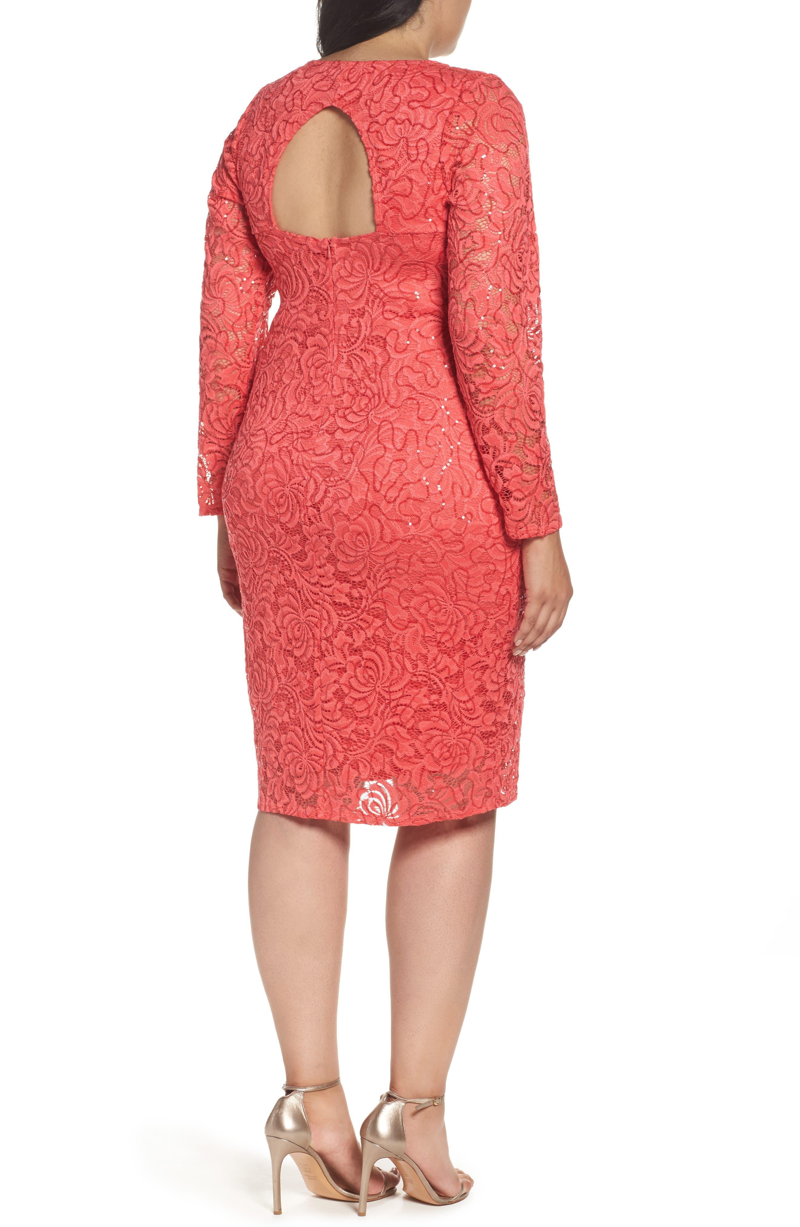 Lace Sheath Dress,                             Alternate thumbnail 2, color,                             Coral