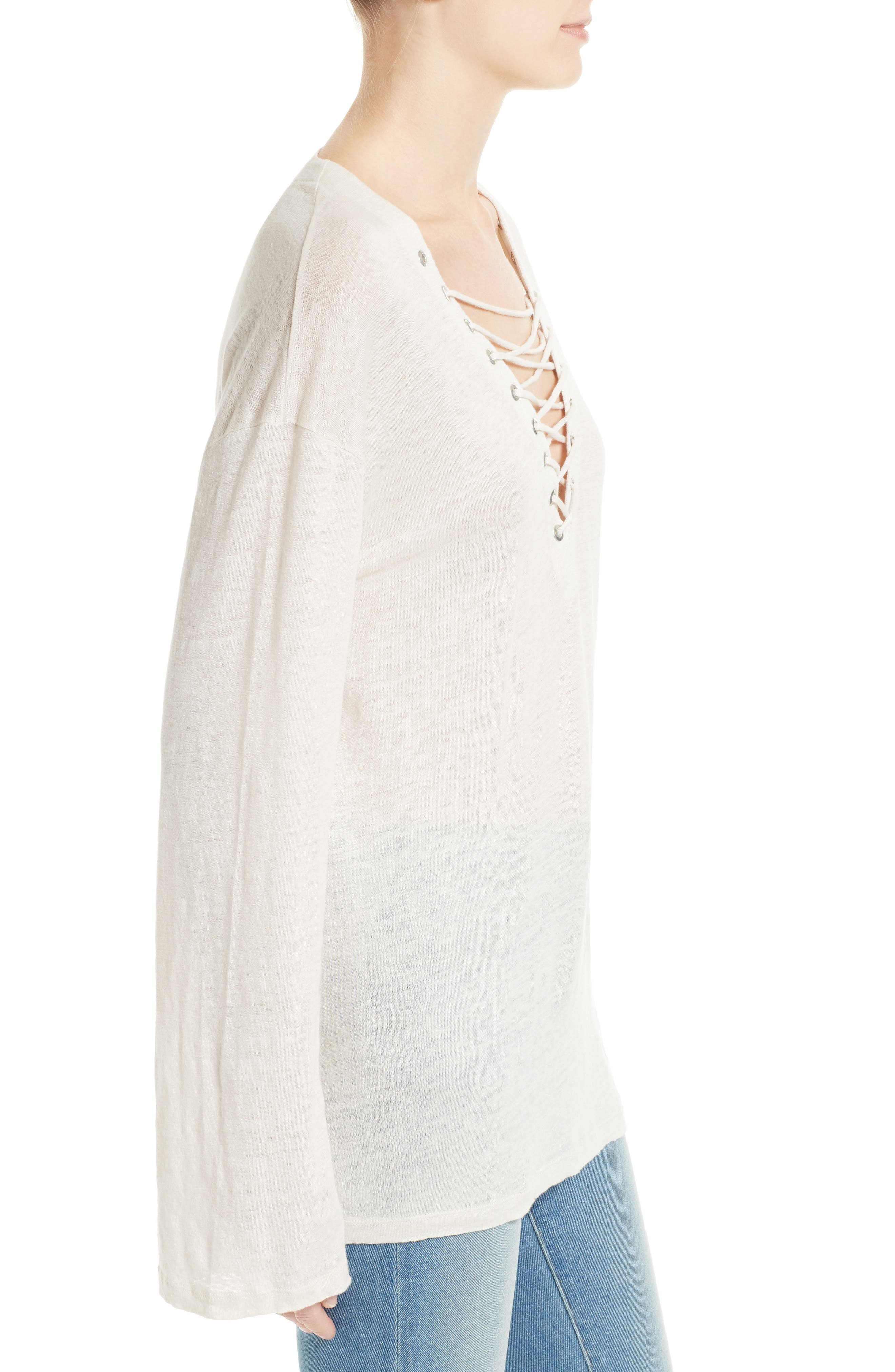 Alety Lace-Up Linen Top,                             Alternate thumbnail 3, color,                             Ivory