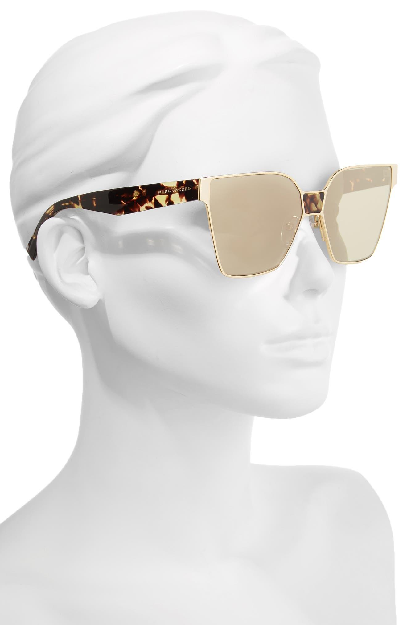 60mm Square Sunglasses,                             Alternate thumbnail 2, color,                             Gold