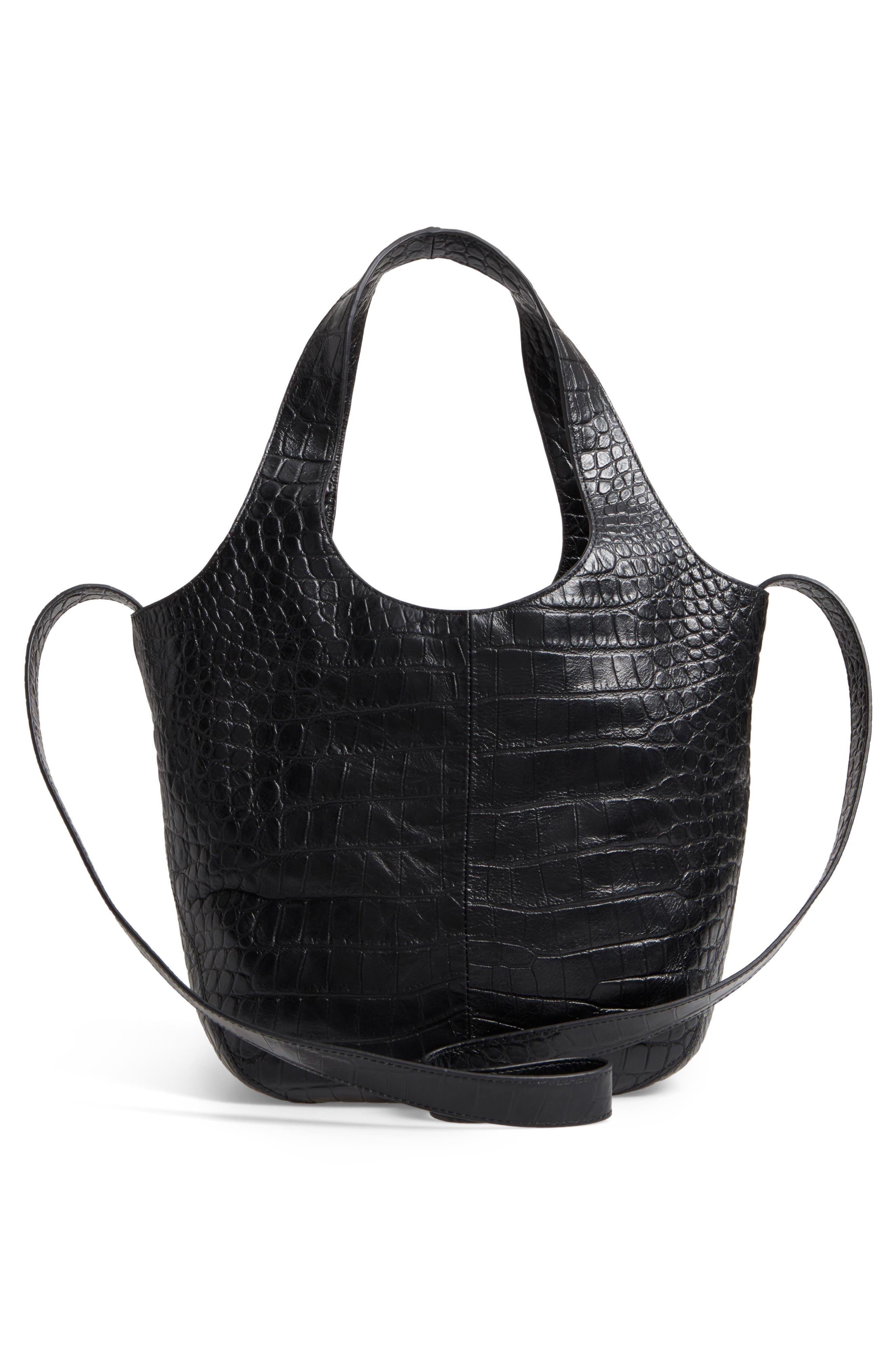 Small Finley Embossed Leather Shopper,                             Alternate thumbnail 2, color,                             Black