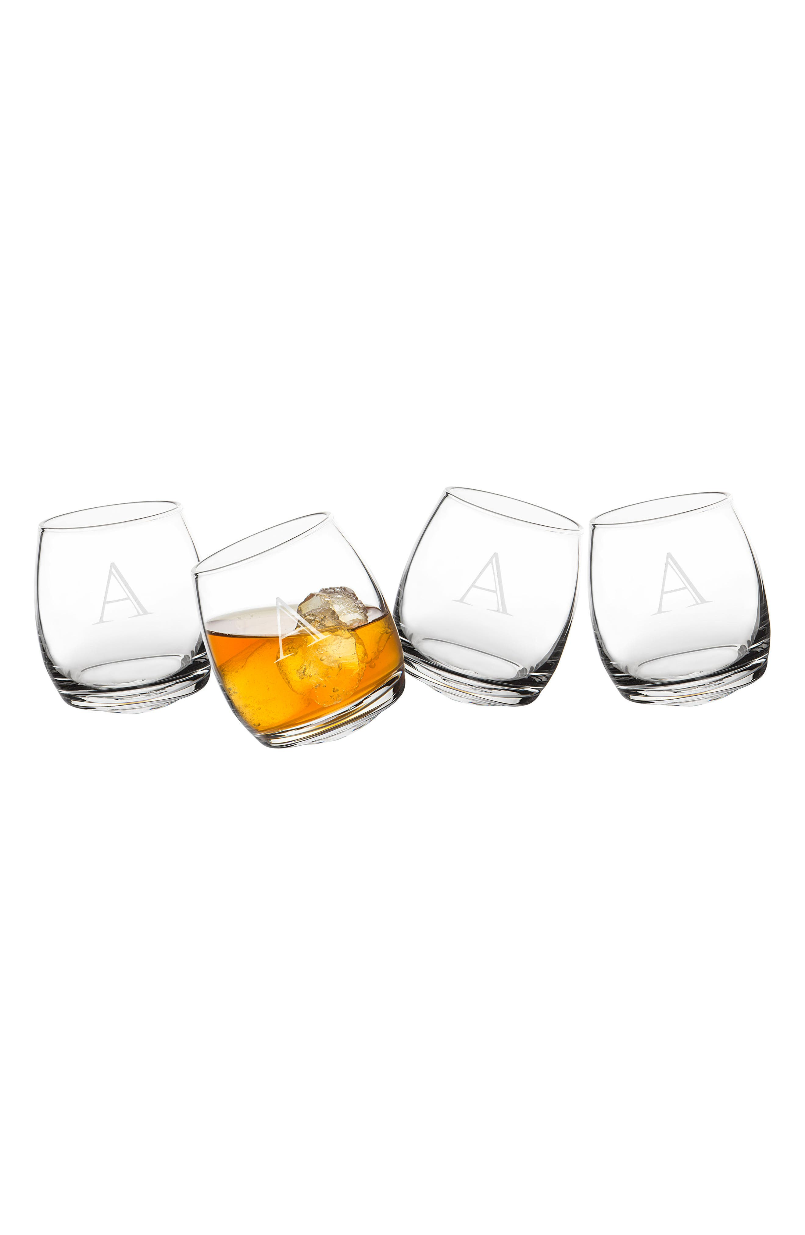 Monogram Tipsy Set of 4 Double Old Fashioned Glasses,                         Main,                         color, White - A