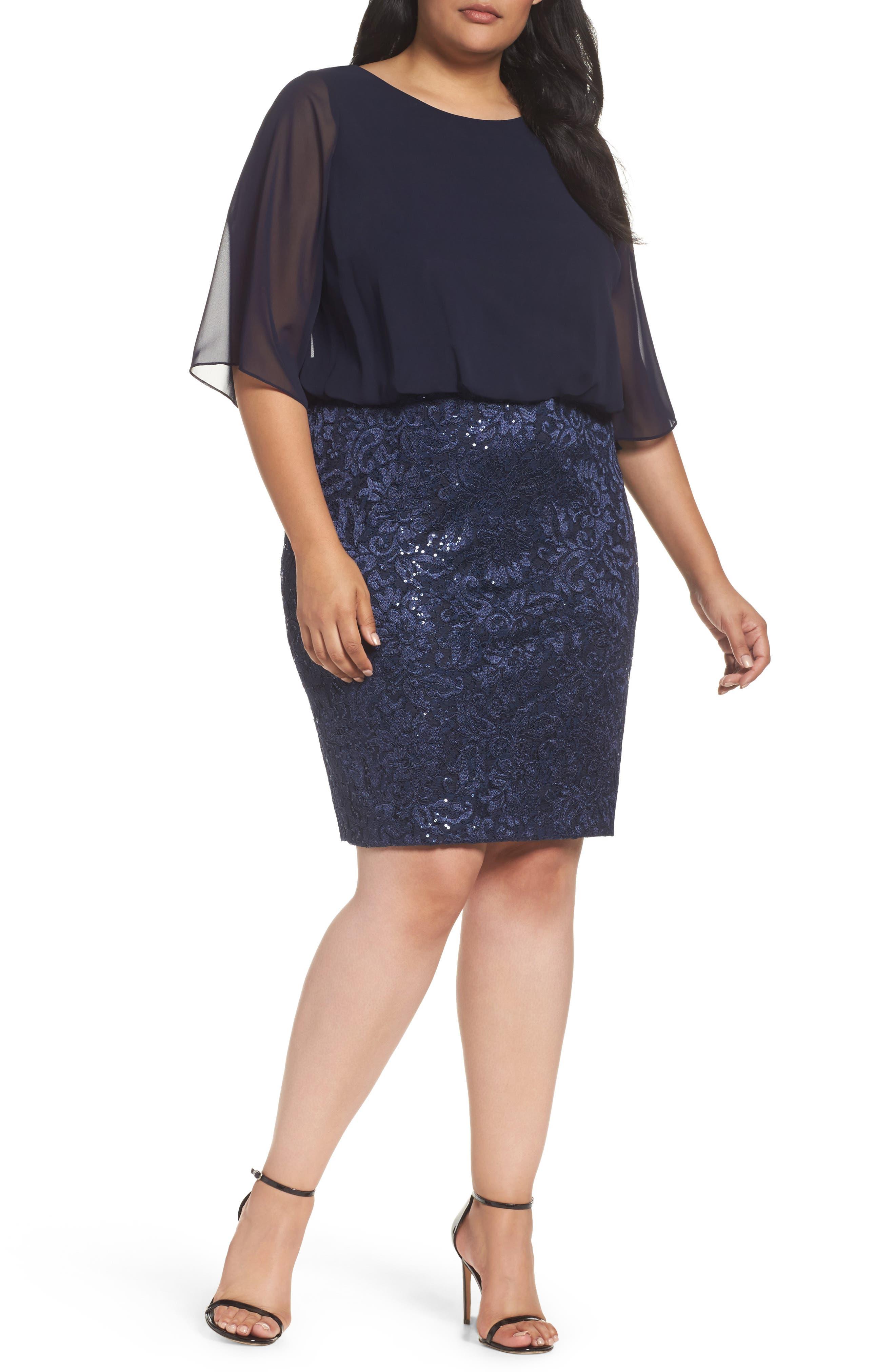 Alex Evenings Sequin Embroidered Blouson Sheath Dress (Plus Size)