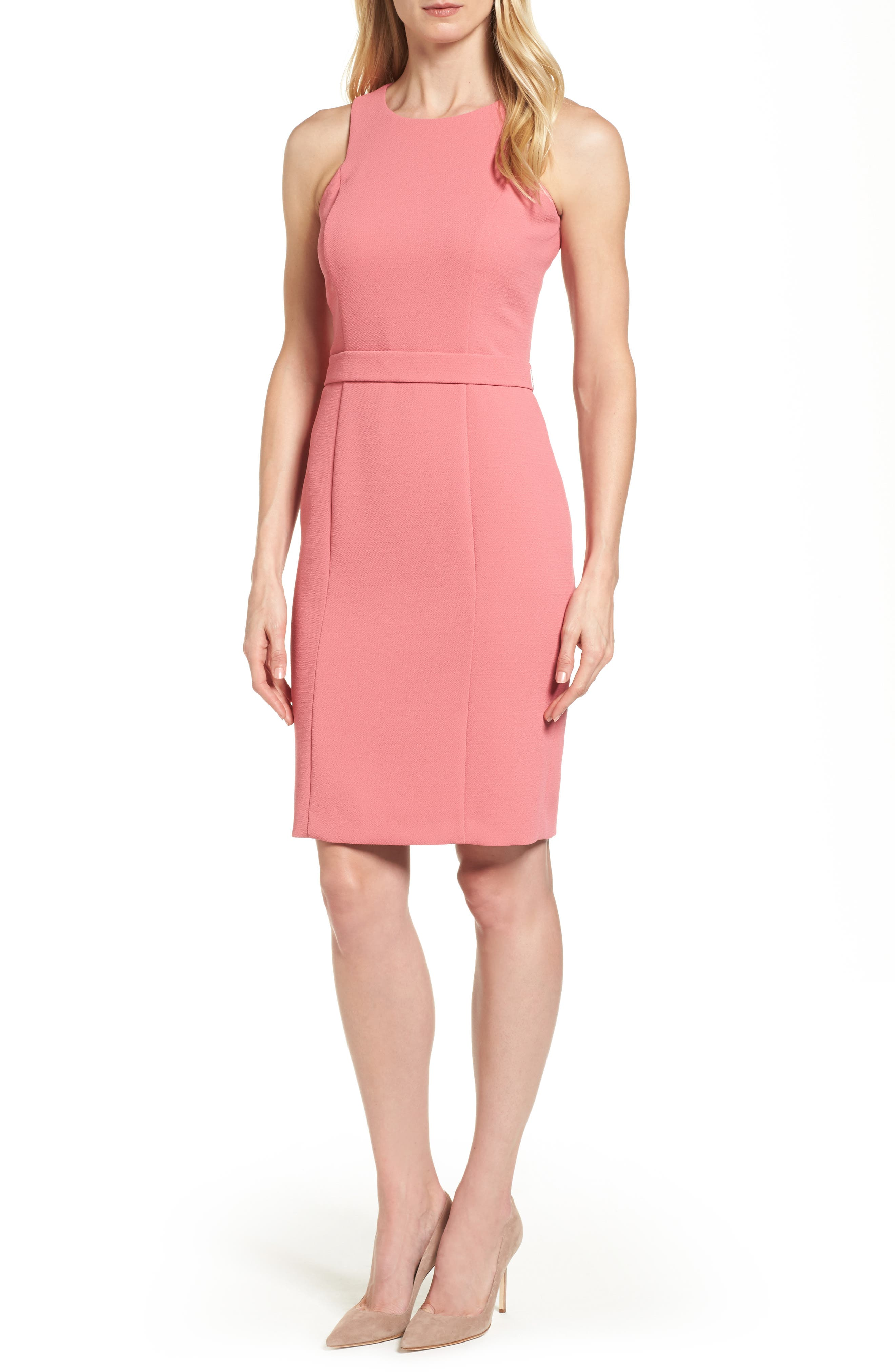 Dalanea Belted Sheath Dress,                         Main,                         color, Raspberry