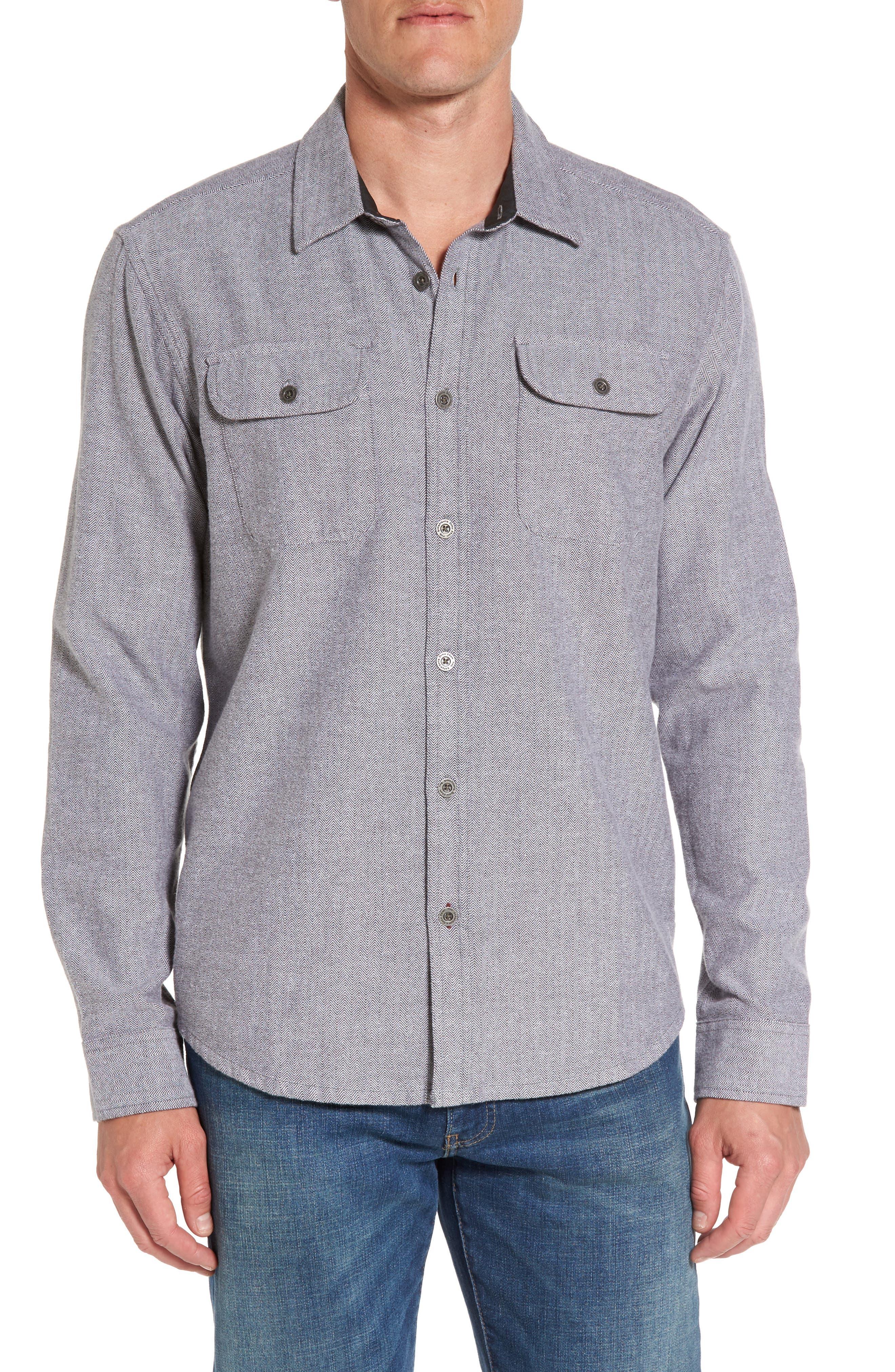 Lybek Regular Fit Herringbone Flannel Shirt,                             Main thumbnail 1, color,                             Gravel