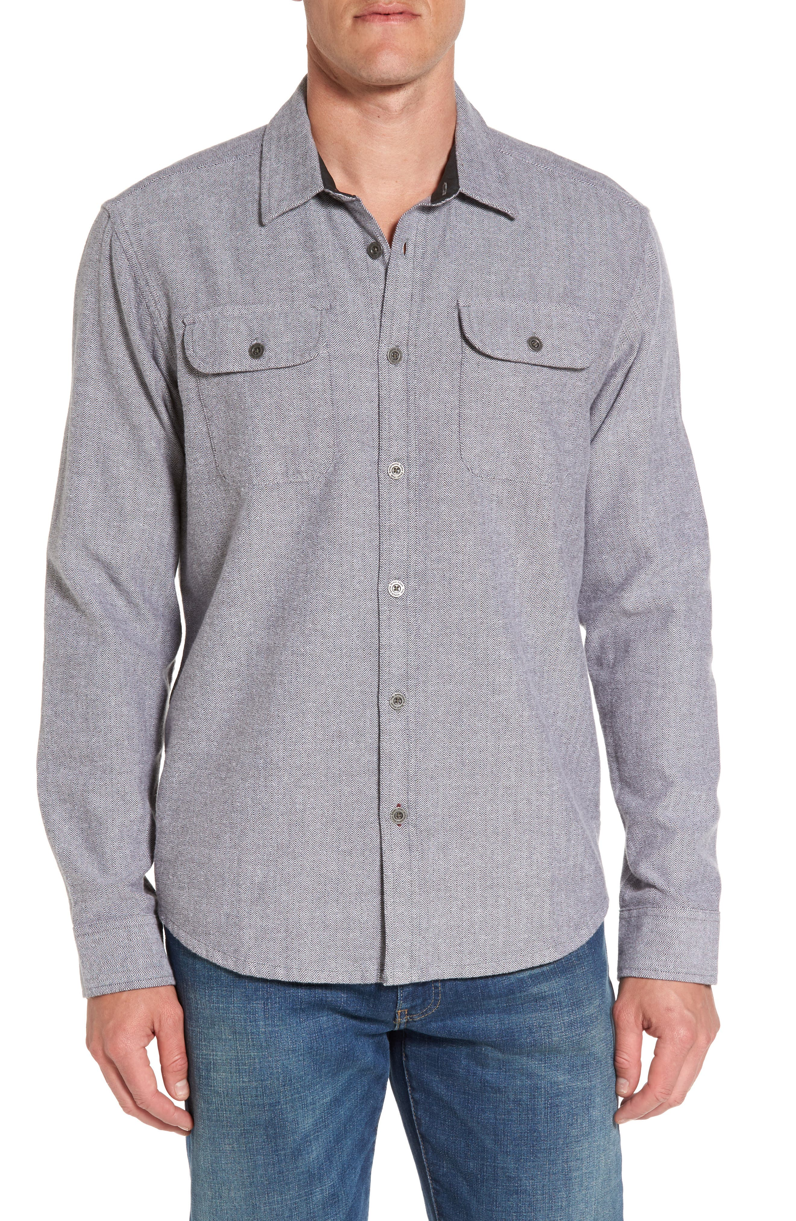 prAna Lybek Regular Fit Herringbone Flannel Shirt