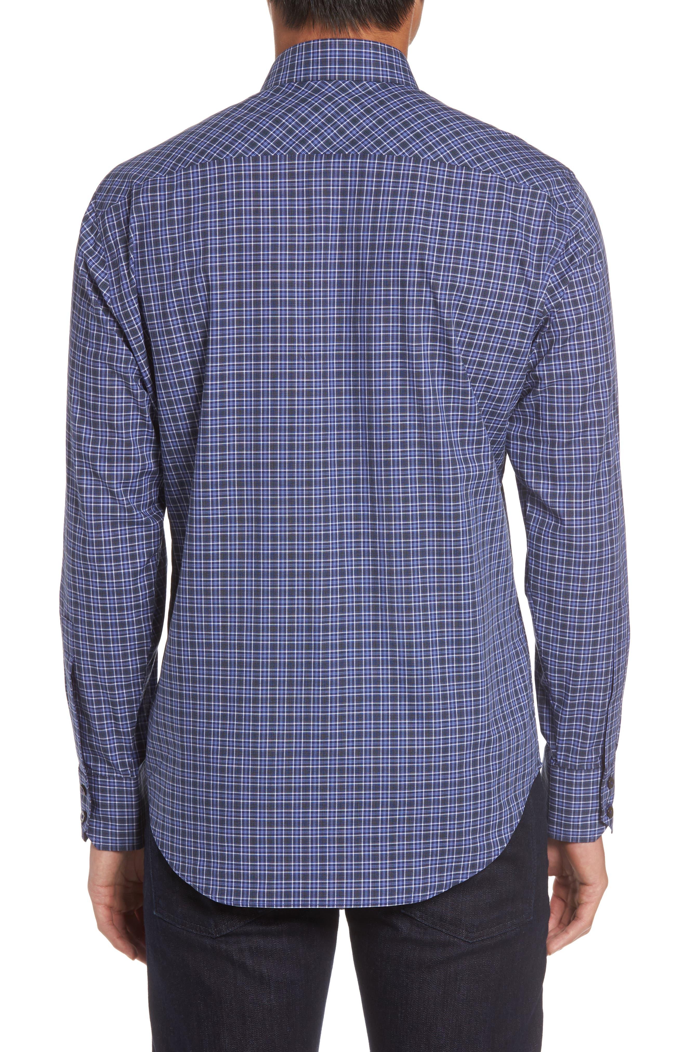 Barnum Slim Fit Check Sport Shirt,                             Alternate thumbnail 2, color,                             Blue