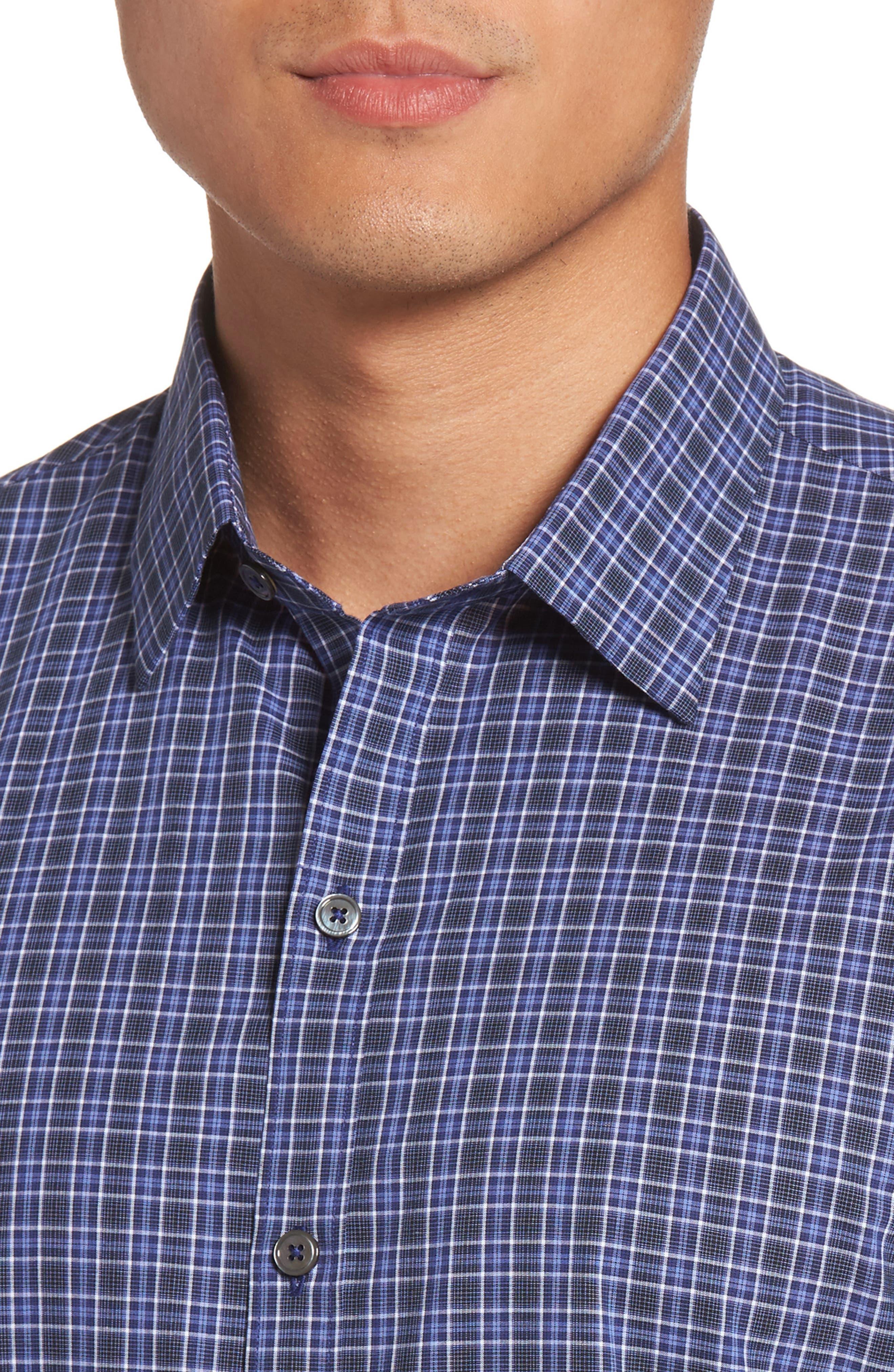 Barnum Slim Fit Check Sport Shirt,                             Alternate thumbnail 4, color,                             Blue