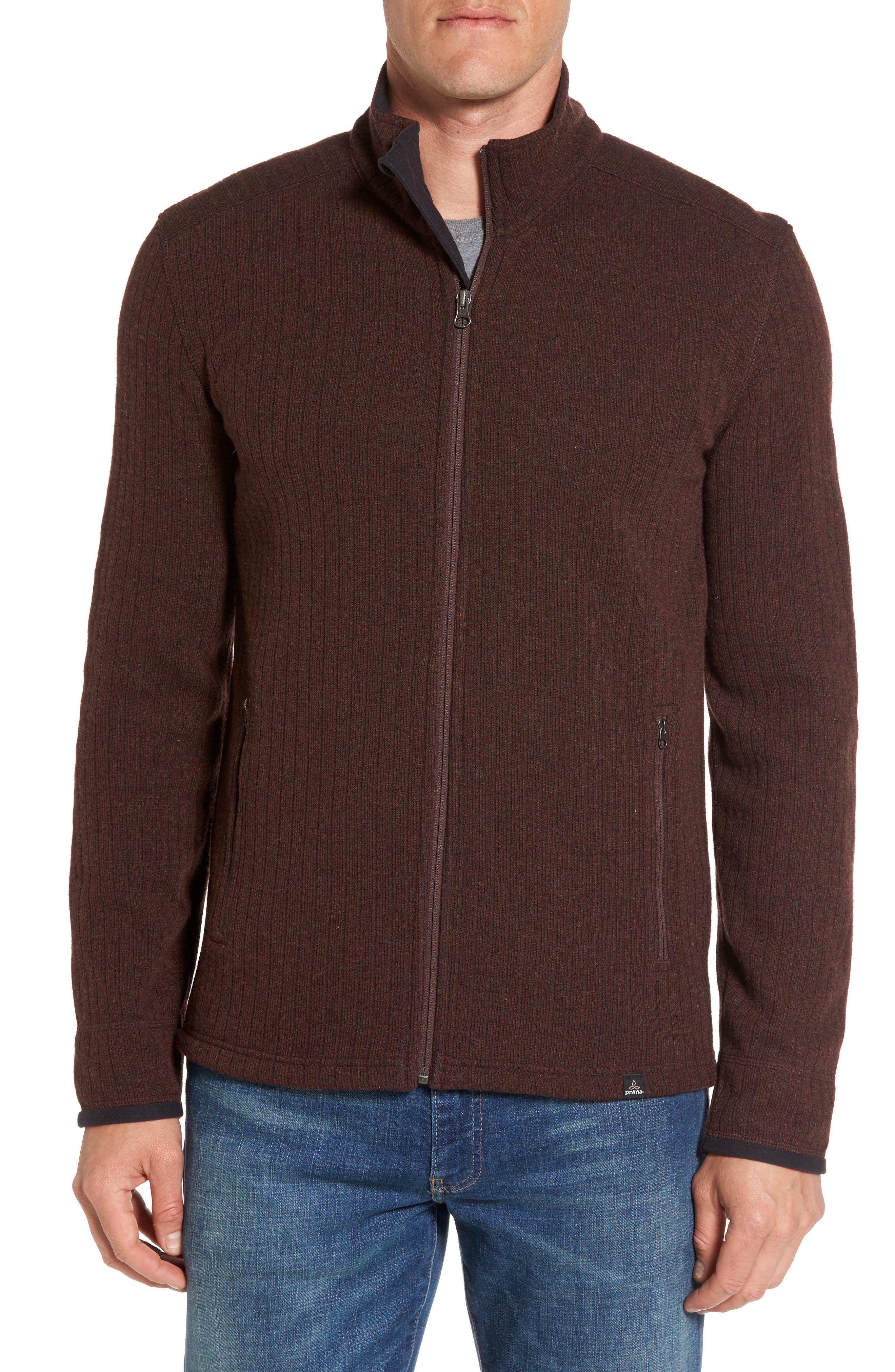 'Barclay' Full Zip Rib Knit Sweater,                         Main,                         color, Cocoa