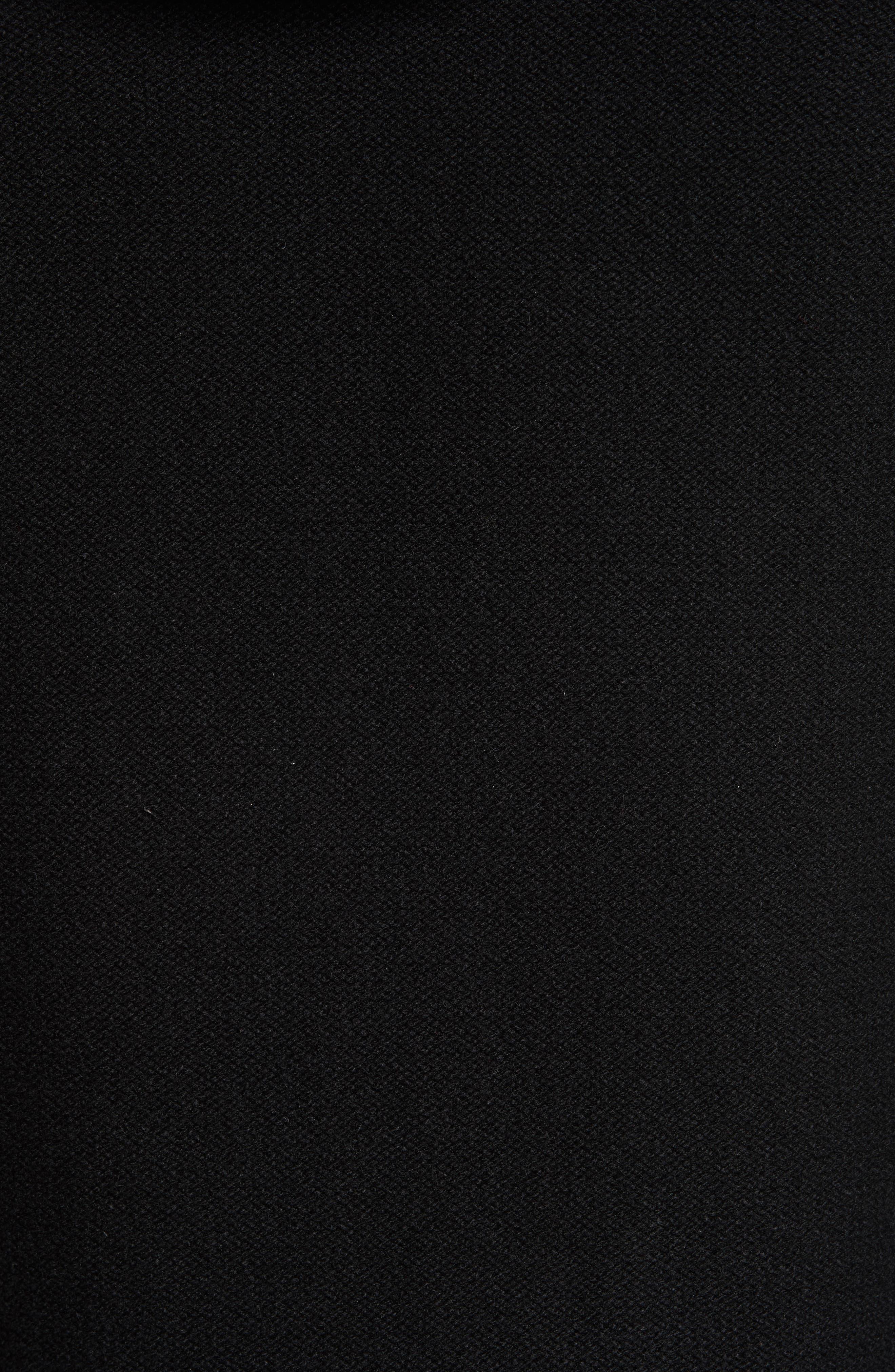 Knit Zip Hoodie with Faux Fur Trim,                             Alternate thumbnail 5, color,                             Bla01