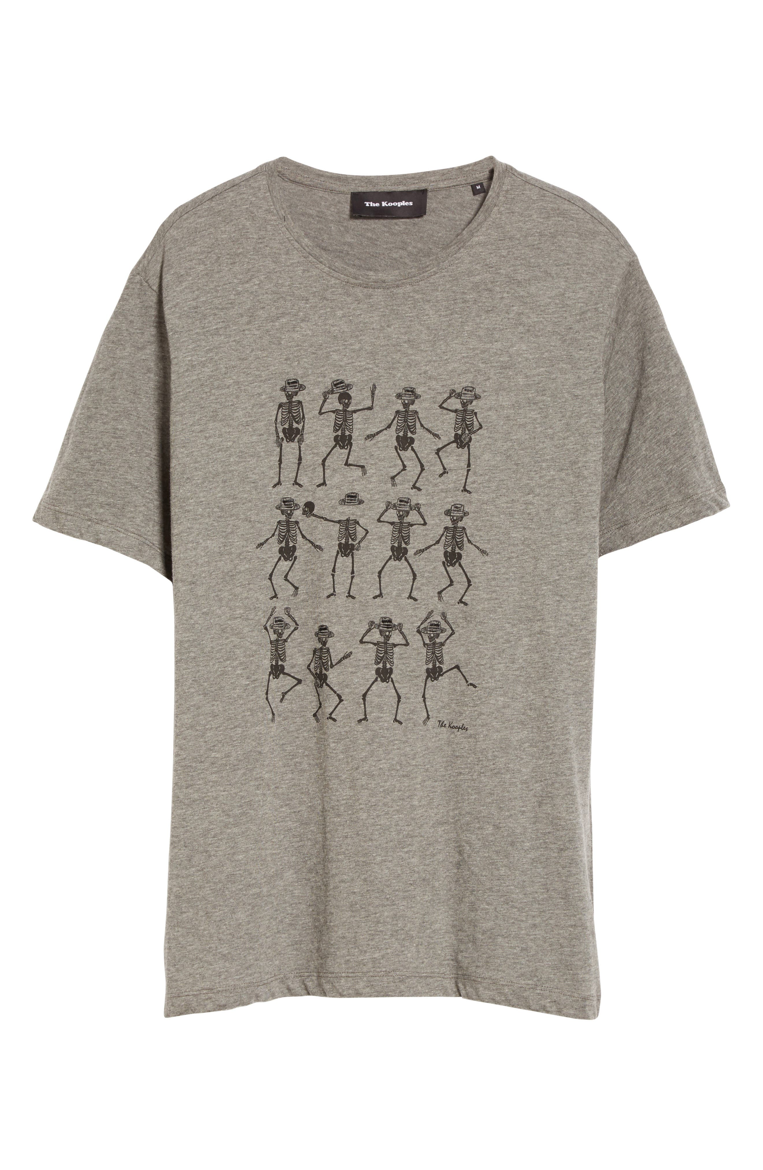 Dancing Skeleton Graphic T-Shirt,                             Alternate thumbnail 4, color,                             Gry23