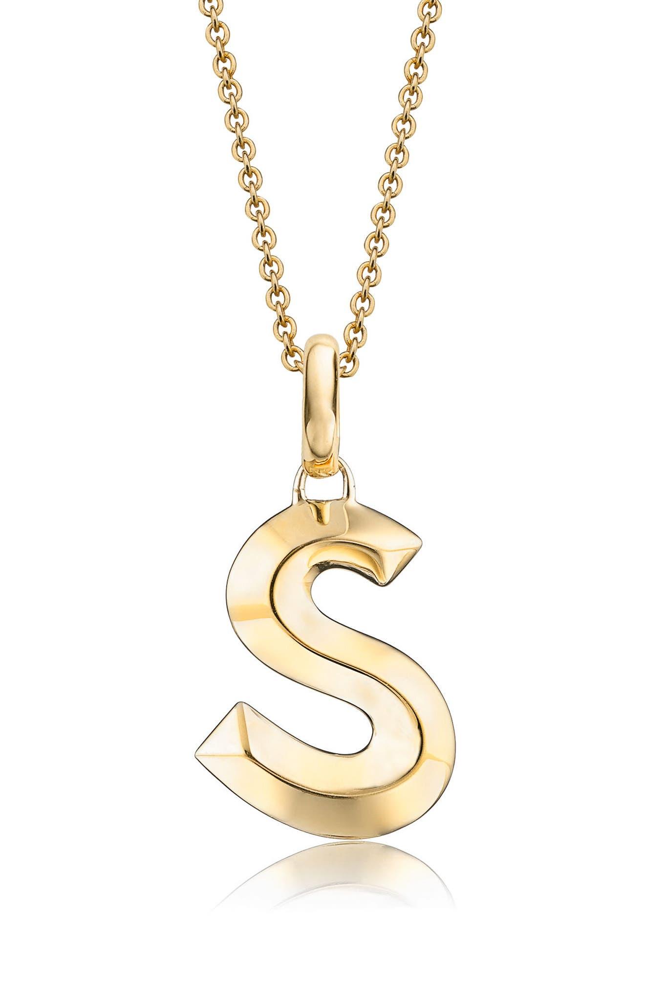 Alphabet Pendant,                         Main,                         color, Gold- S