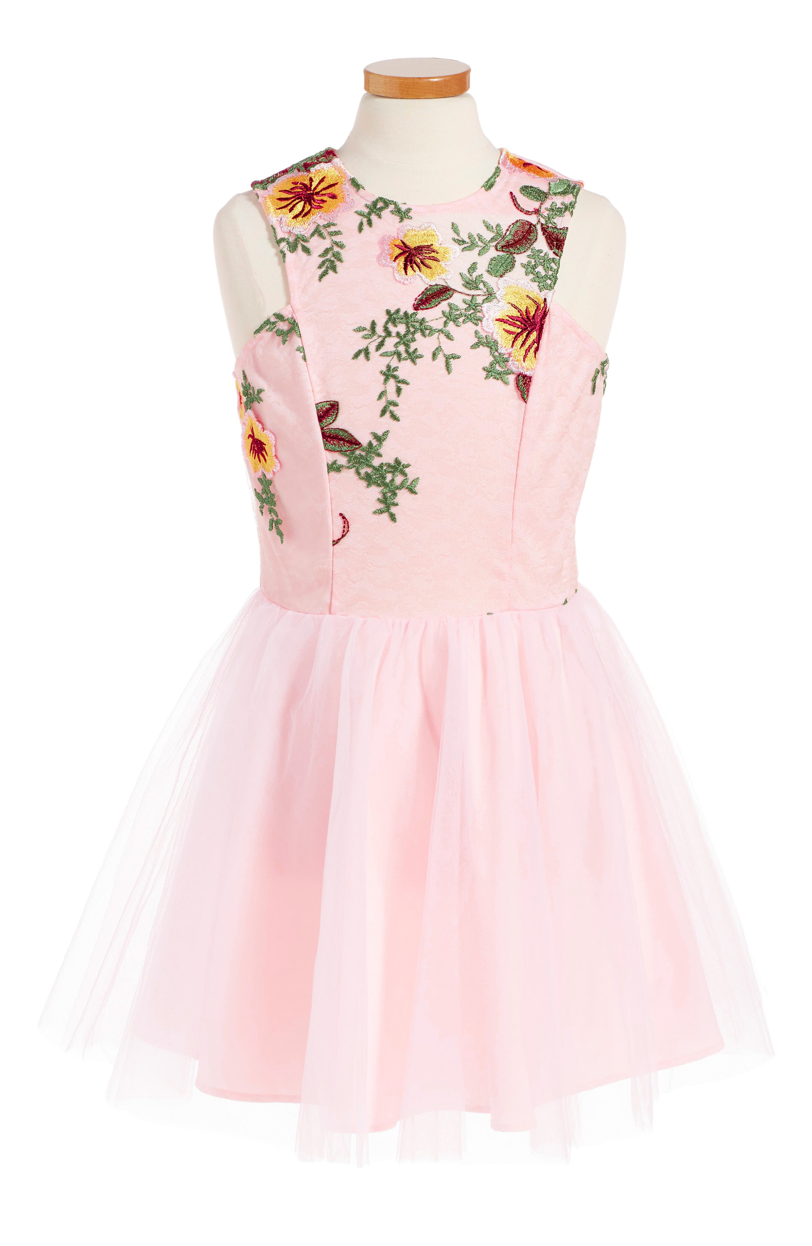 Miss Behave Camilla Embroidered Fit & Flare Dress (Big Girls)
