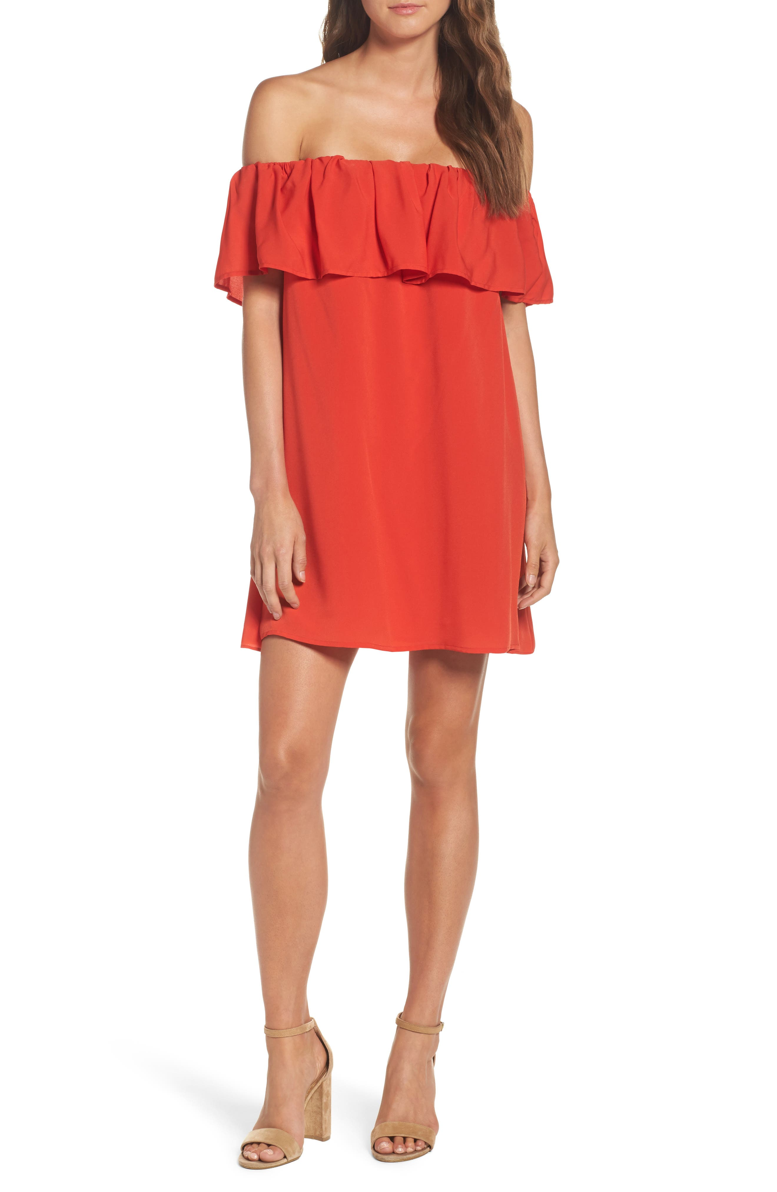 Polly Plains Dress,                         Main,                         color, Margo Red