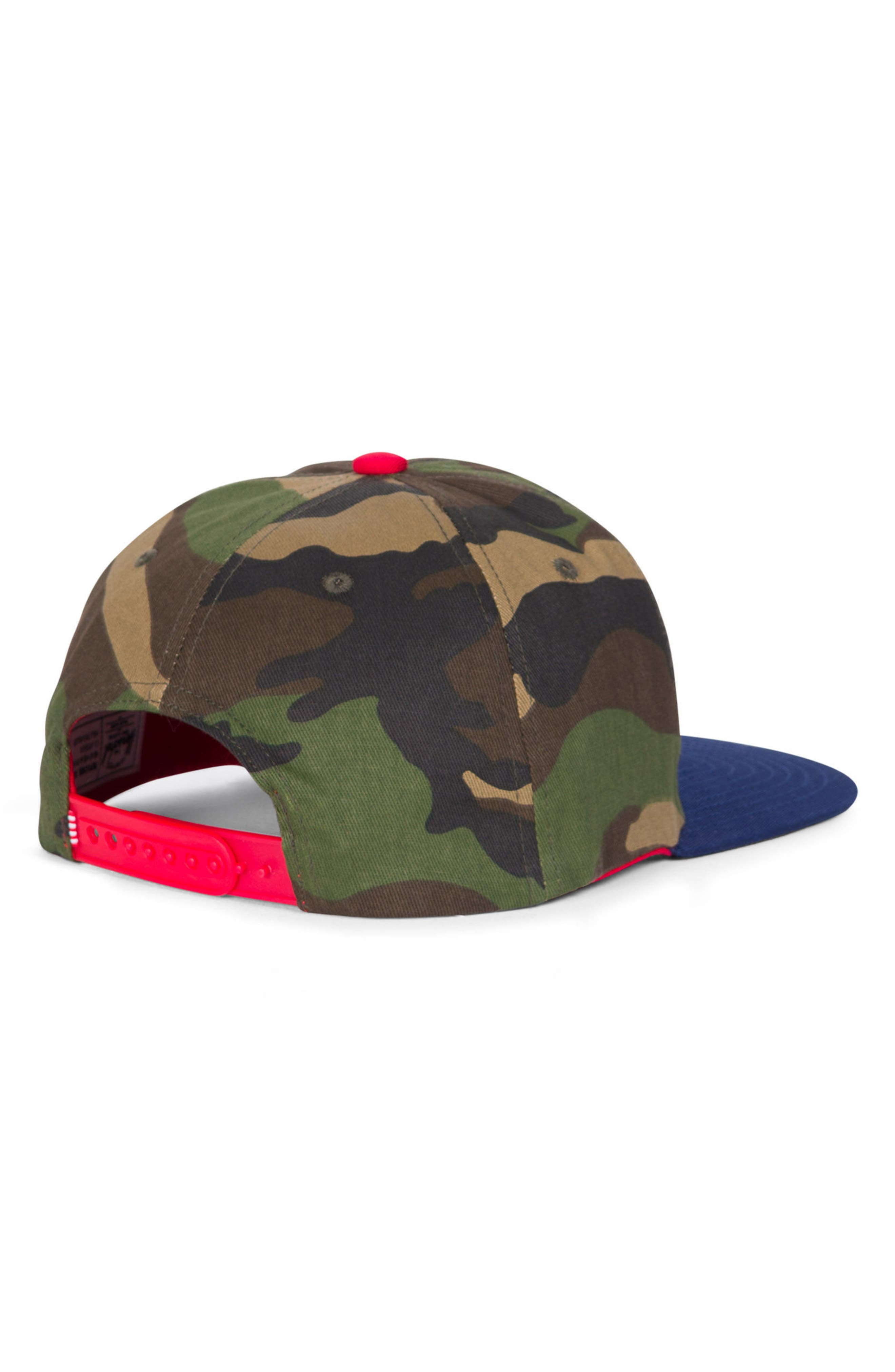 Mosby Camo Snapback Baseball Cap,                             Alternate thumbnail 2, color,                             Woodland Camo/ Navy/ Red