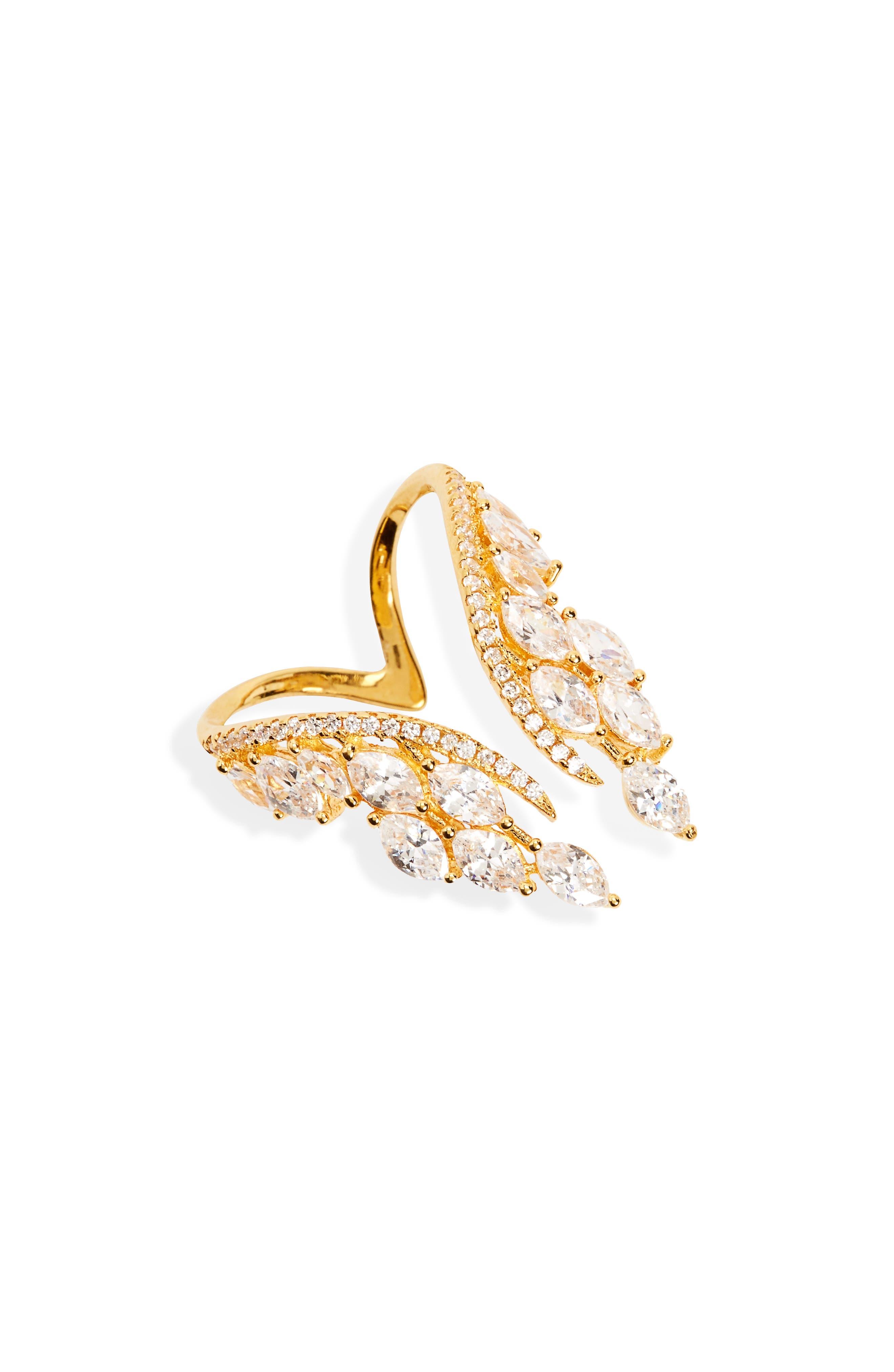 Shashi Isabella Crystal Wing Ring