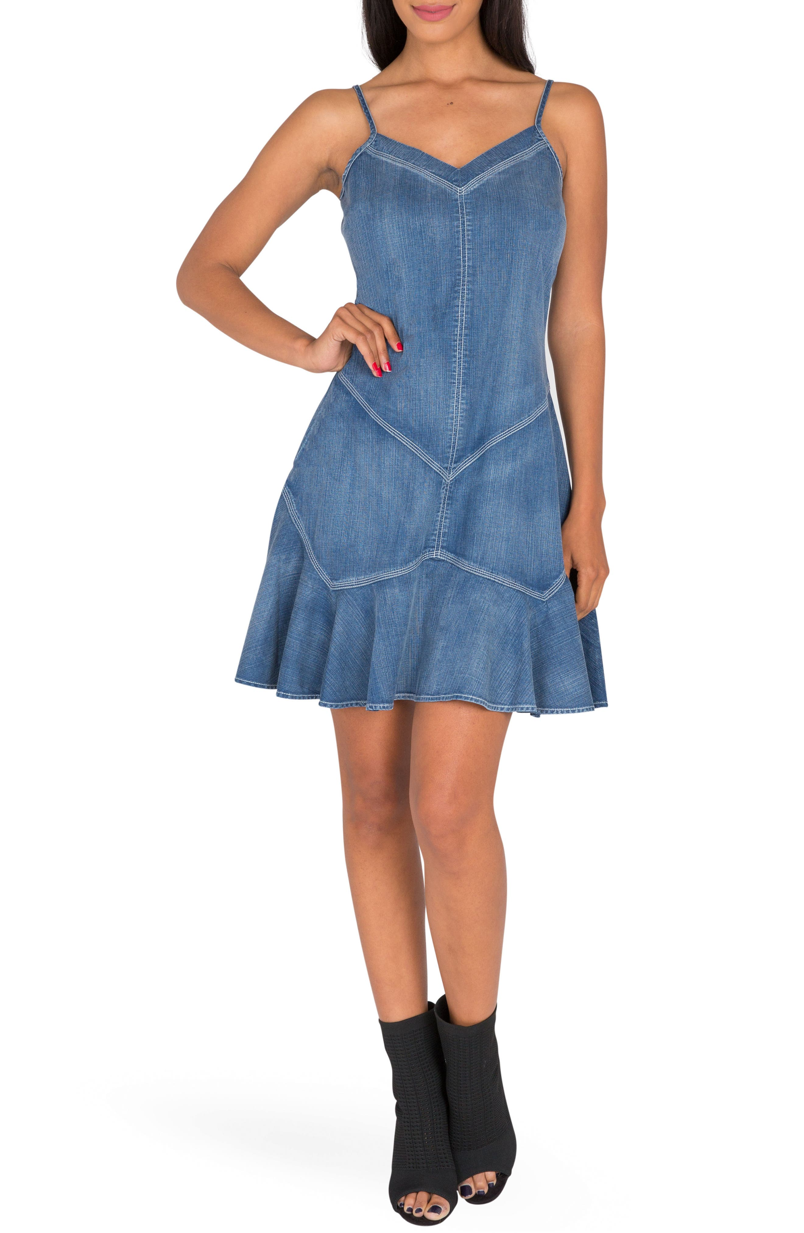 STANDARDS & PRACTICES Flounce Hem Chambray Dress
