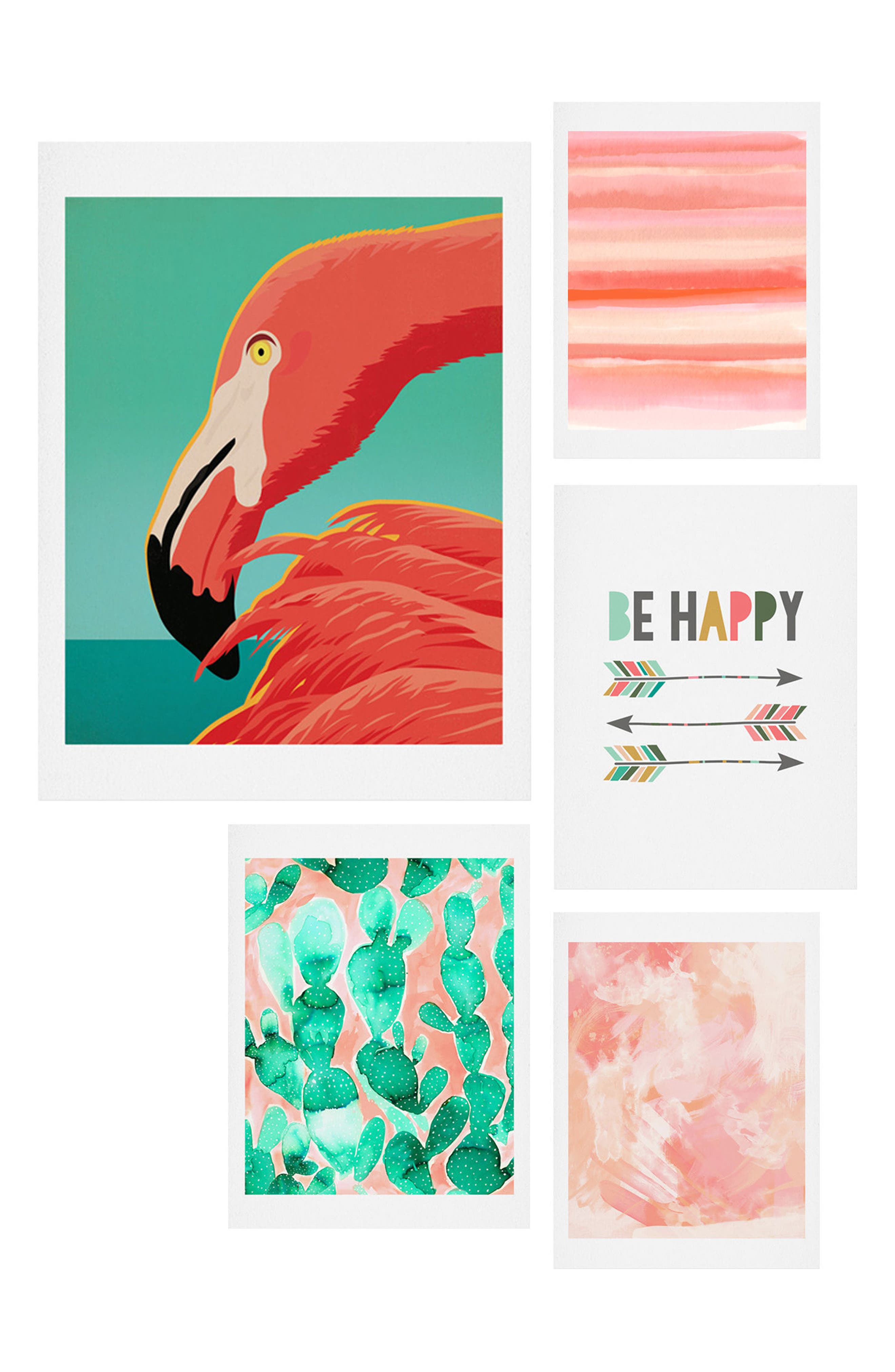 Tropical Flamingo Five-Piece Gallery Wall Art Print Set,                             Main thumbnail 1, color,                             Coral And Green