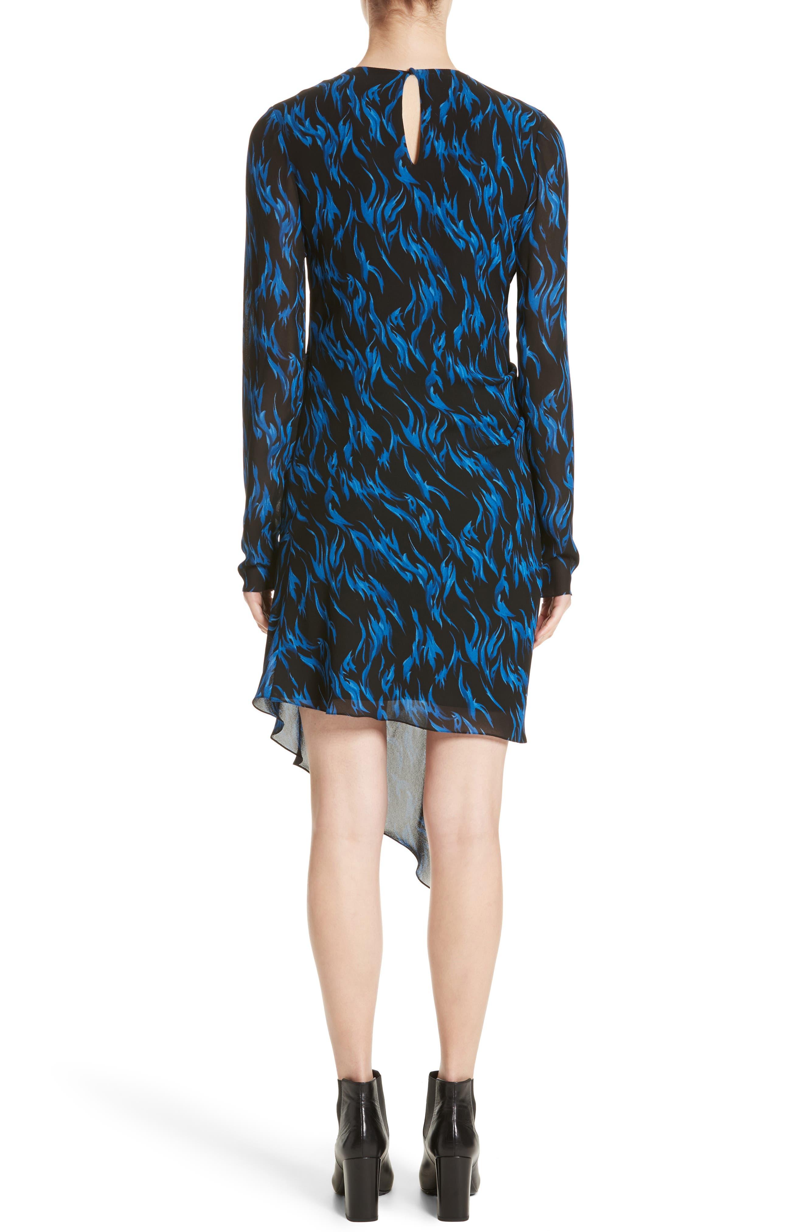 Alternate Image 2  - Saint Laurent Flame Print Crepe Asymmetrical Dress