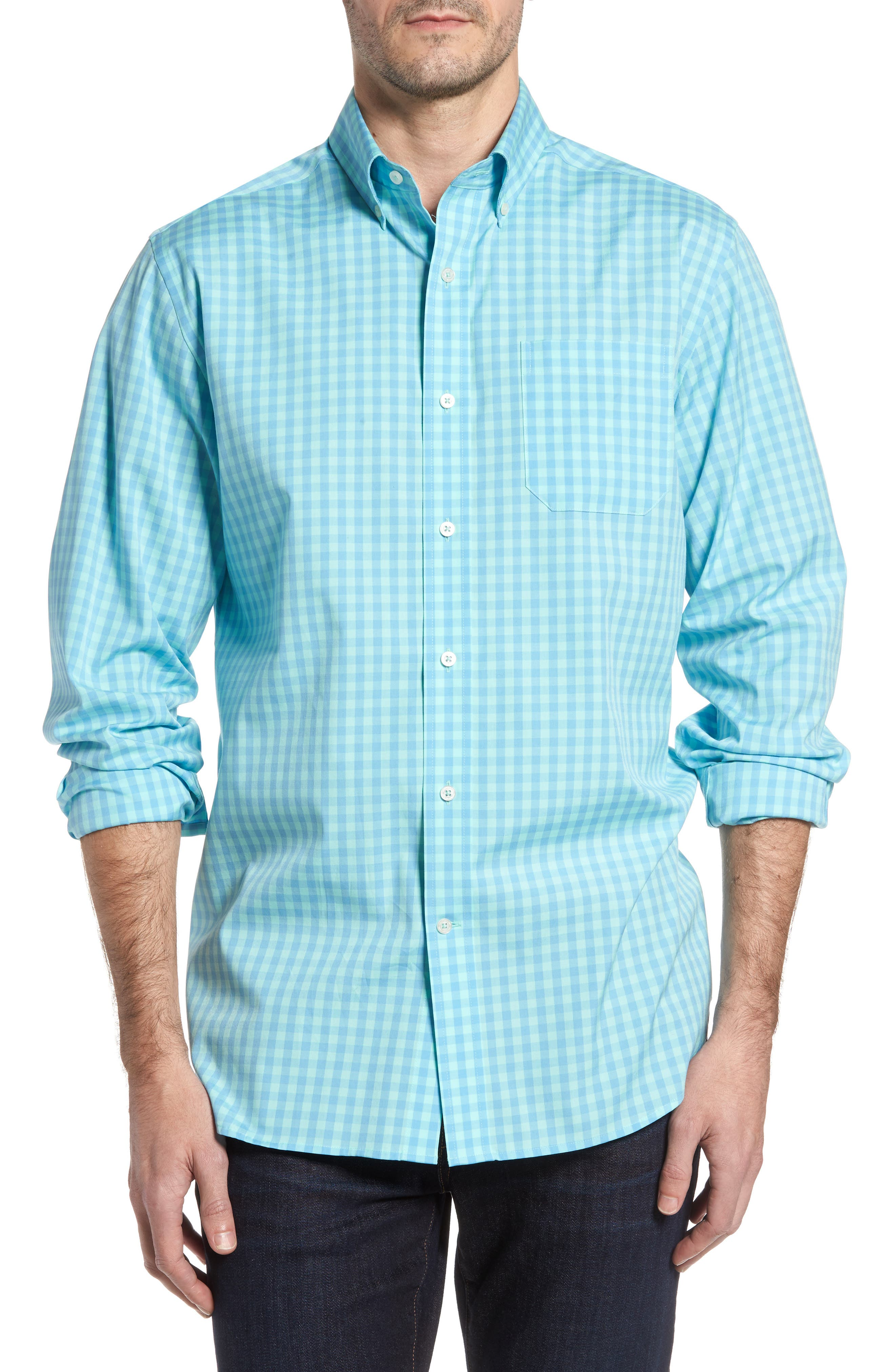 Getaway Gingham Classic Fit Sport Shirt,                         Main,                         color, Offshore Green