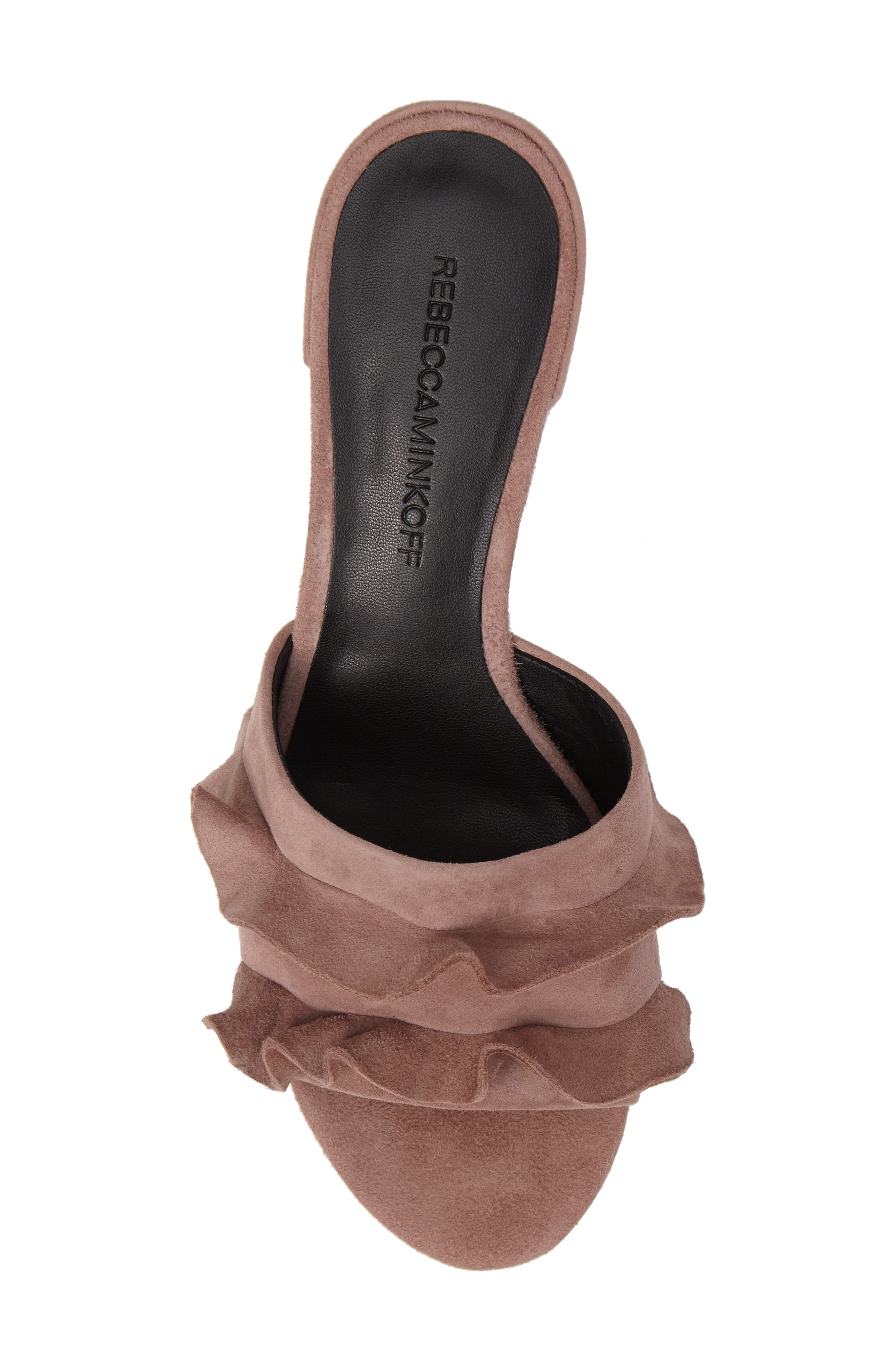 Isabelle Ruffle Mule Sandal,                             Alternate thumbnail 5, color,                             Berry Smoothie Suede