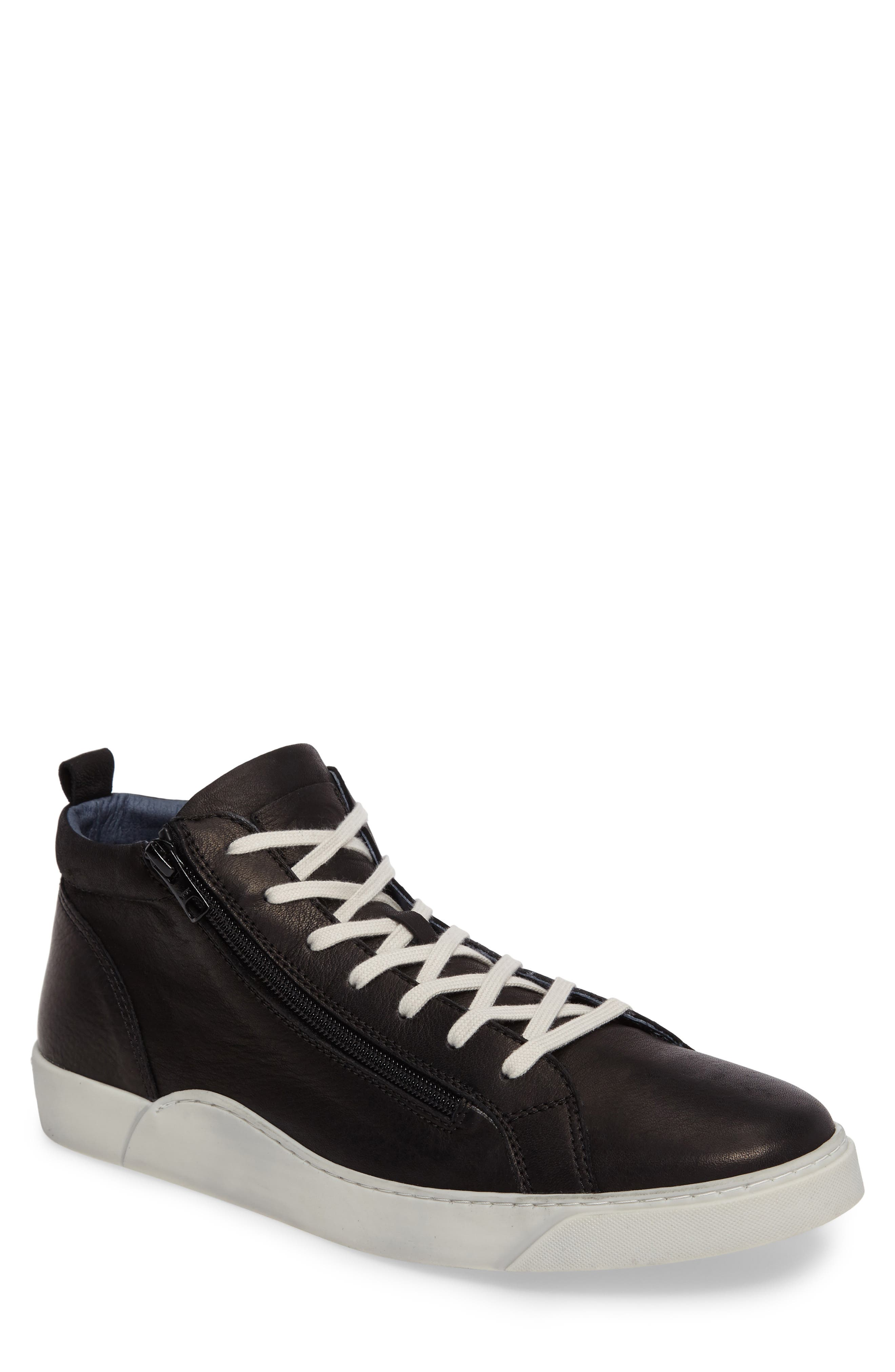 Irwin Mid Top Sneaker,                             Main thumbnail 1, color,                             Black Leather