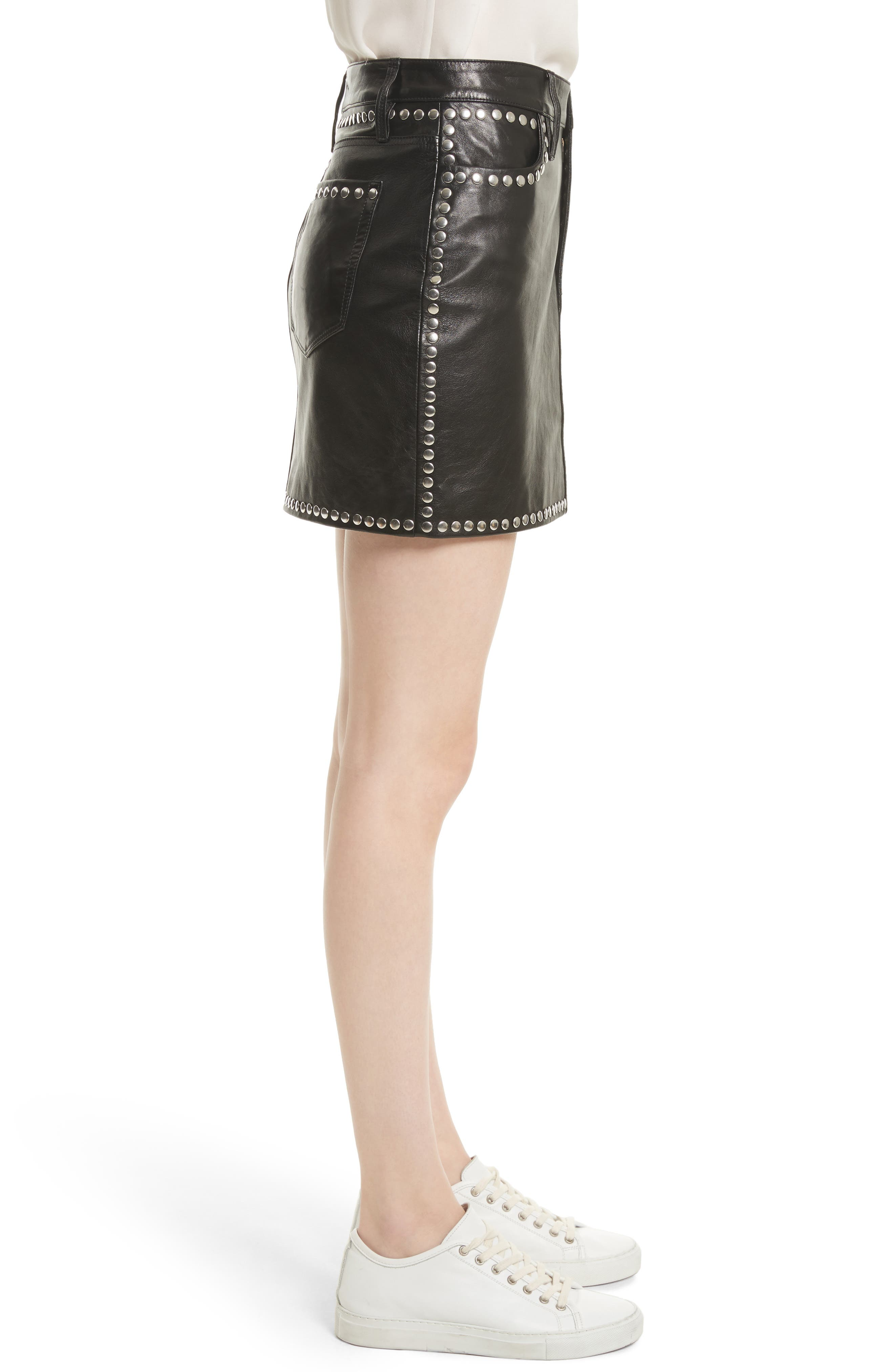Alternate Image 4  - FRAME Studded Leather Miniskirt