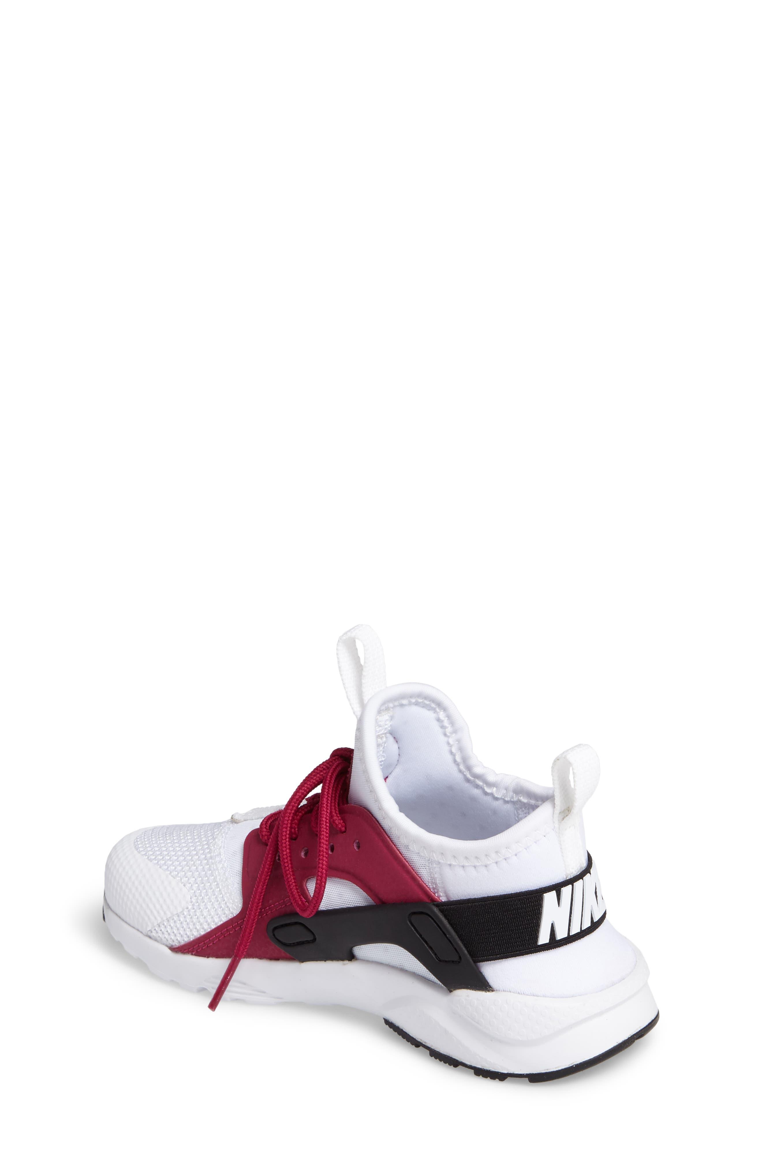 Air Huarache Run Ultra Sneaker,                             Alternate thumbnail 2, color,                             White/ Sport Fuchsia/ Black