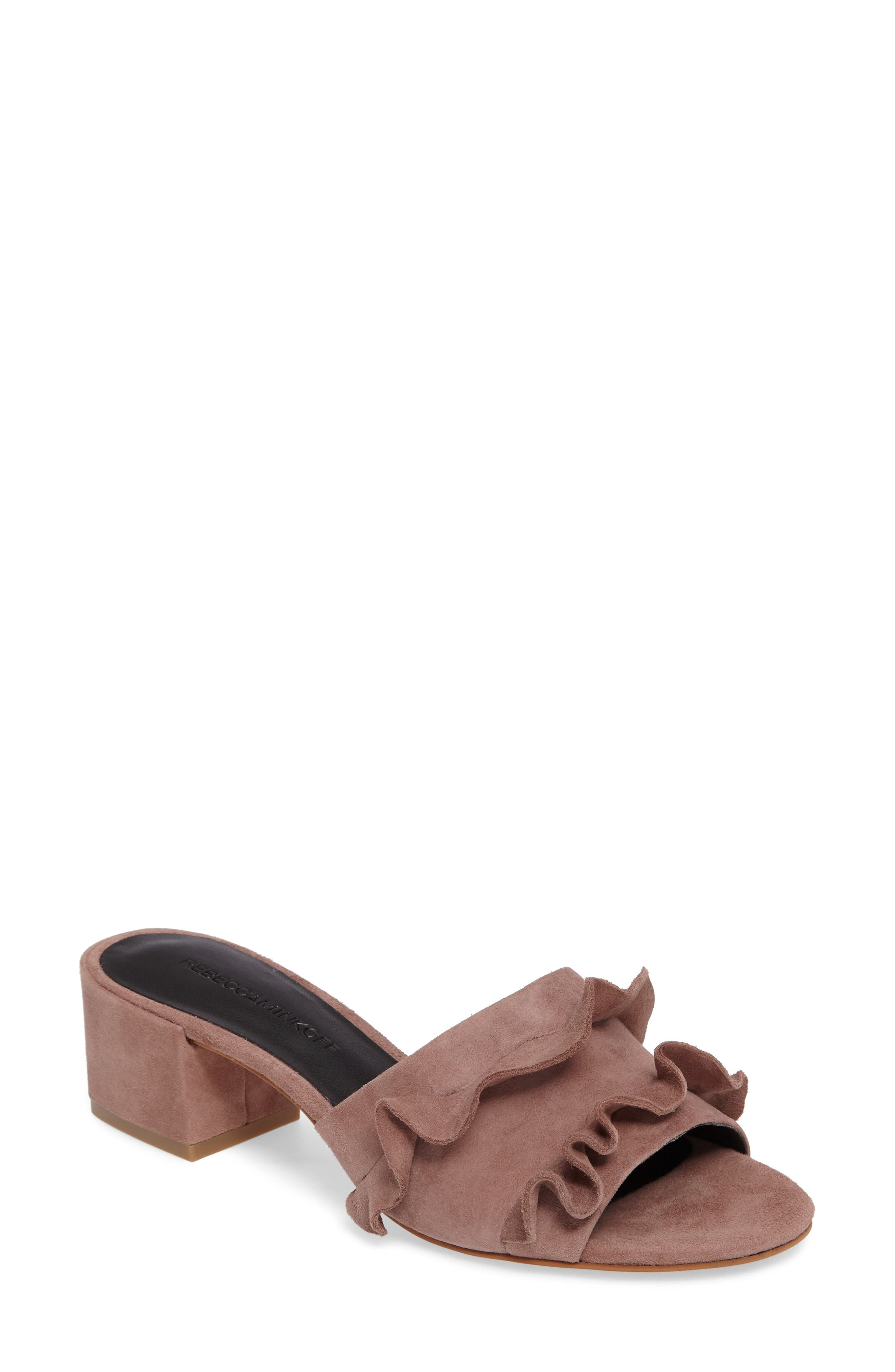 Isabelle Ruffle Mule Sandal,                             Main thumbnail 1, color,                             Berry Smoothie Suede