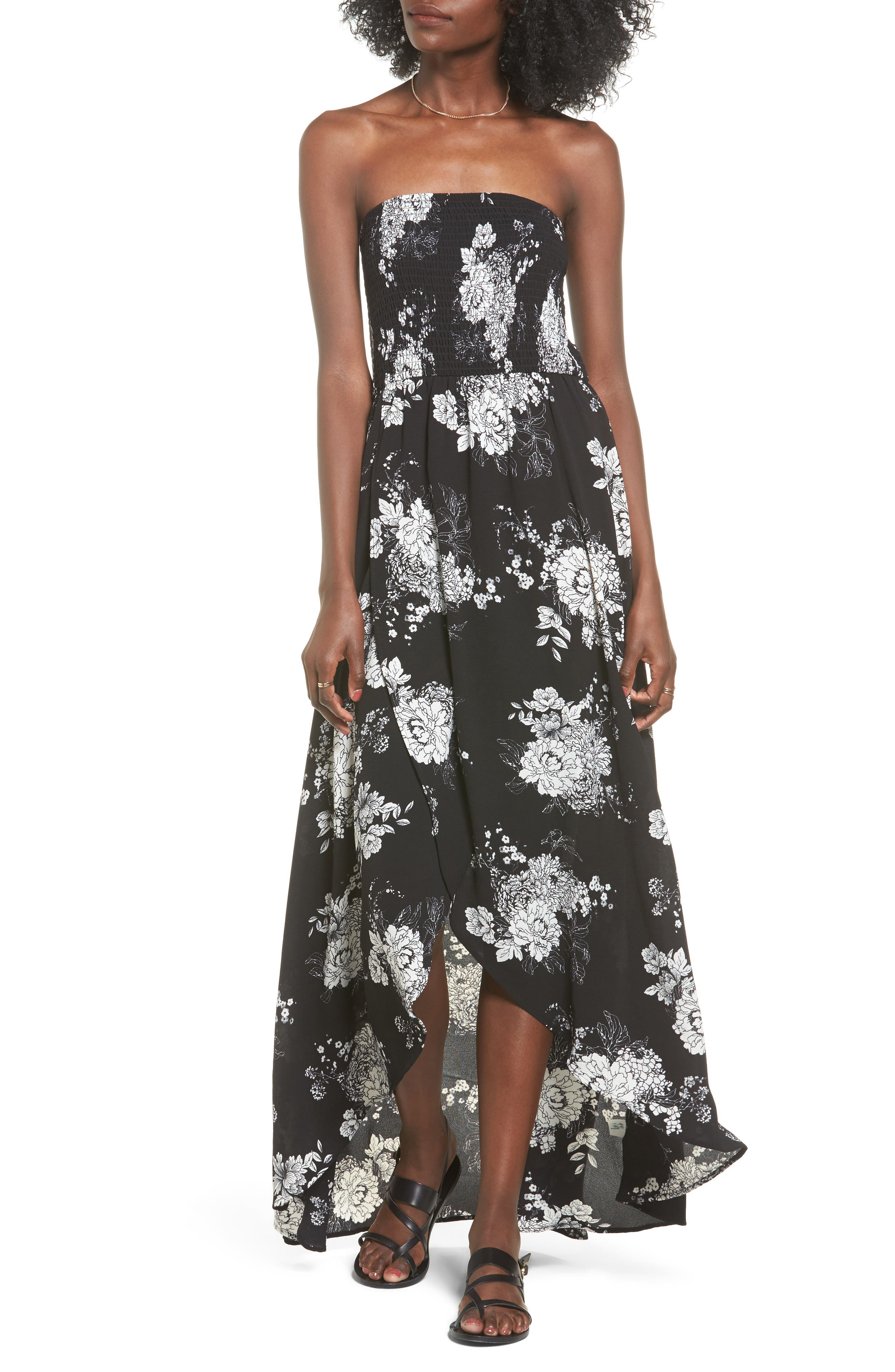 Smocked Strapless Maxi Dress,                         Main,                         color, Black/ Ivory Floral