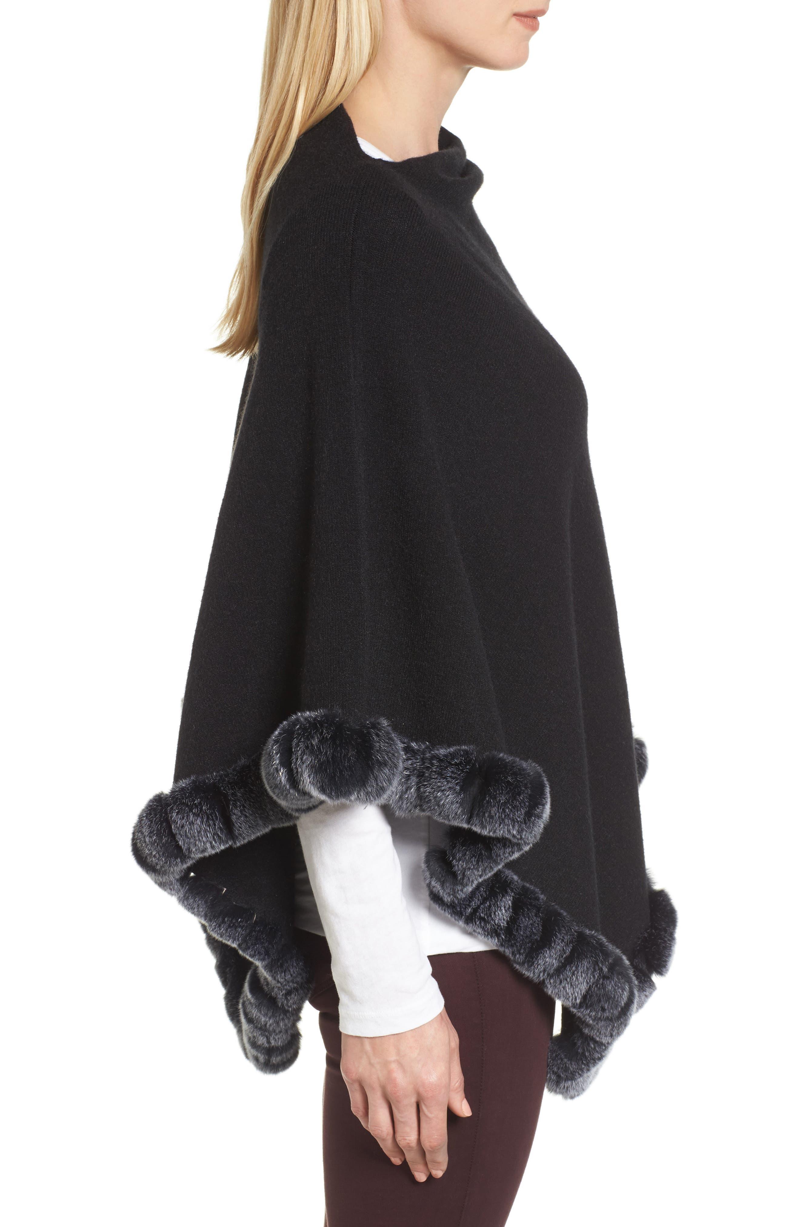 Angled Poncho with Genuine Rabbit Fur Trim,                             Alternate thumbnail 3, color,                             Black