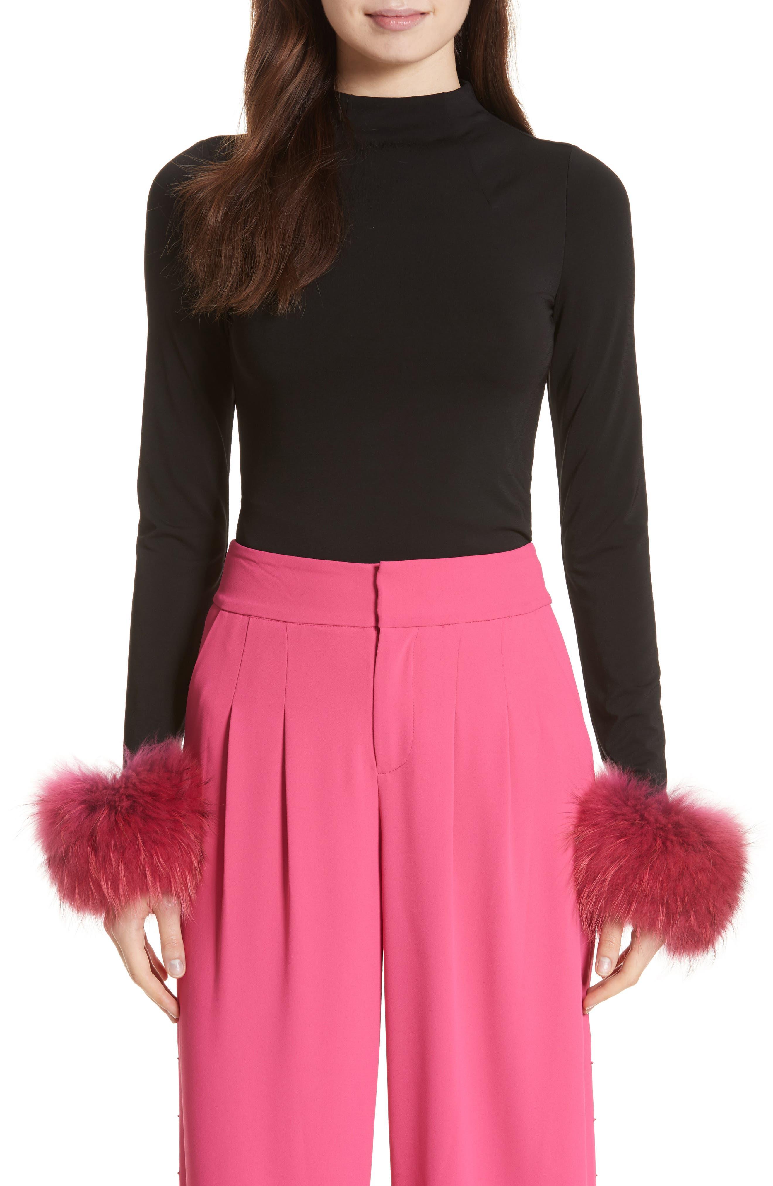 Haylen Genuine Fox Fur Cuff Top,                         Main,                         color, Black / Wine