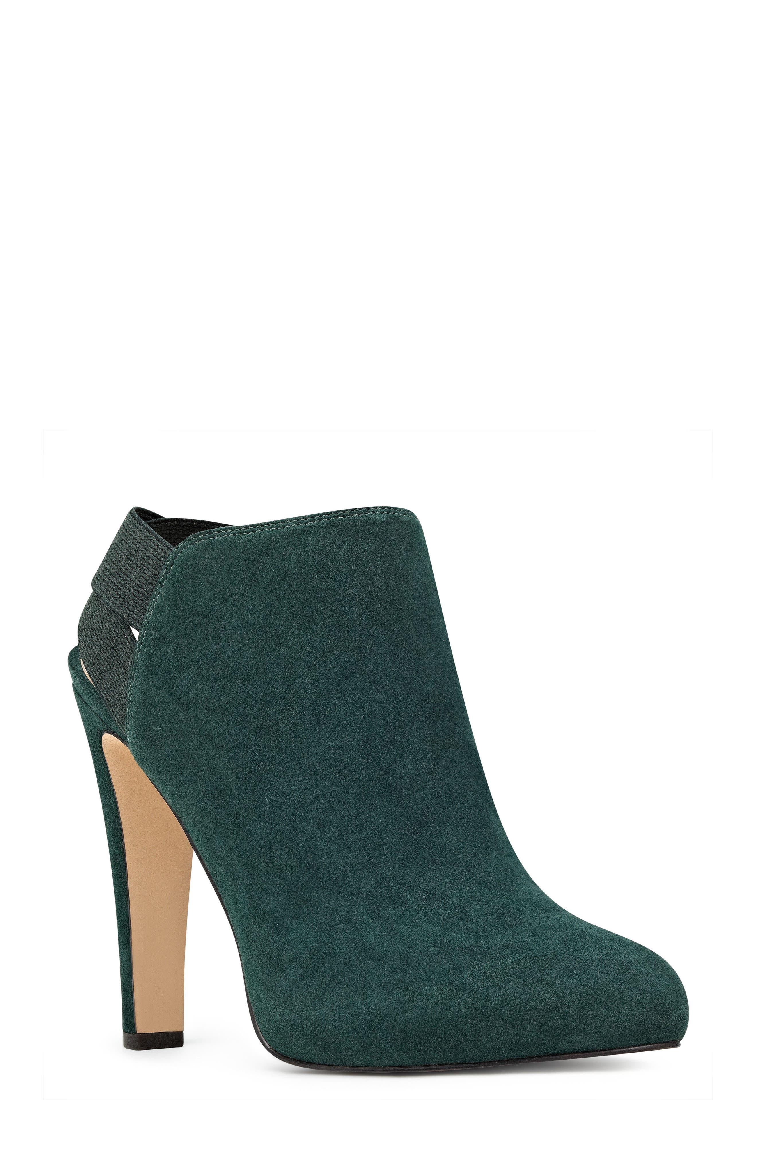 Burke Heel Strap Bootie,                         Main,                         color, Green/ Green Suede