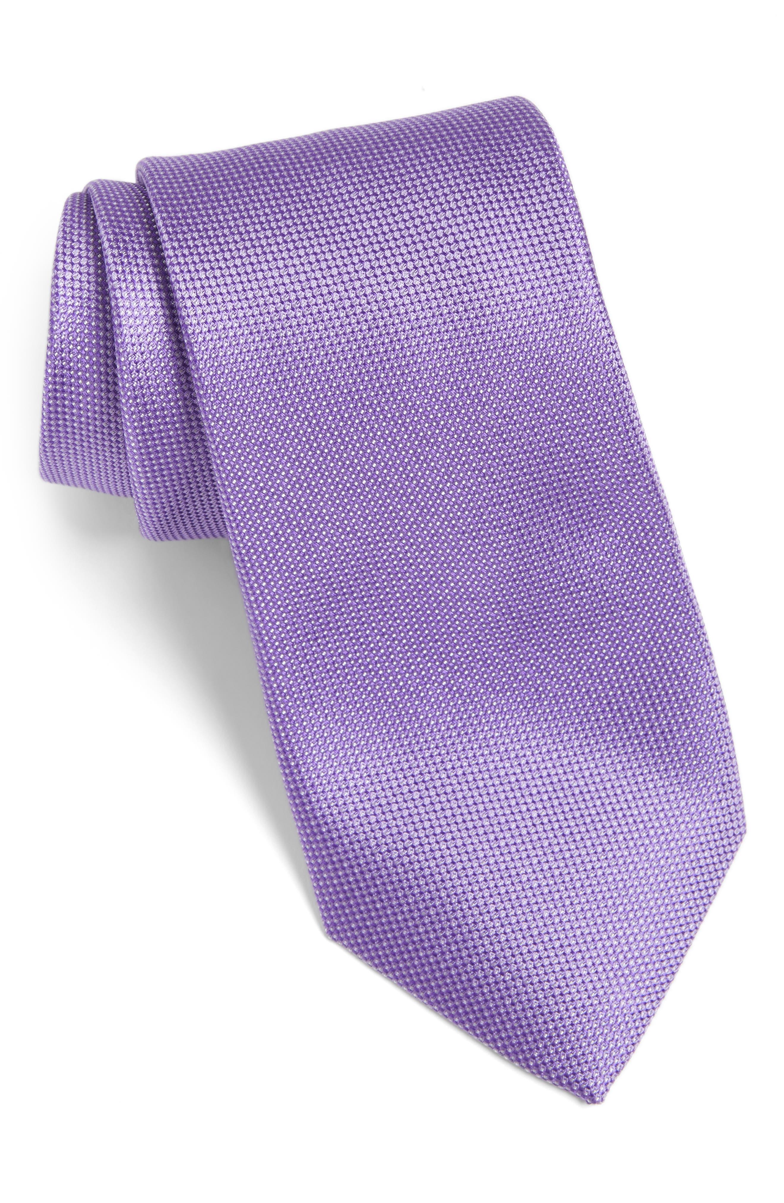 Rawson Solid Silk Tie,                         Main,                         color, Purple