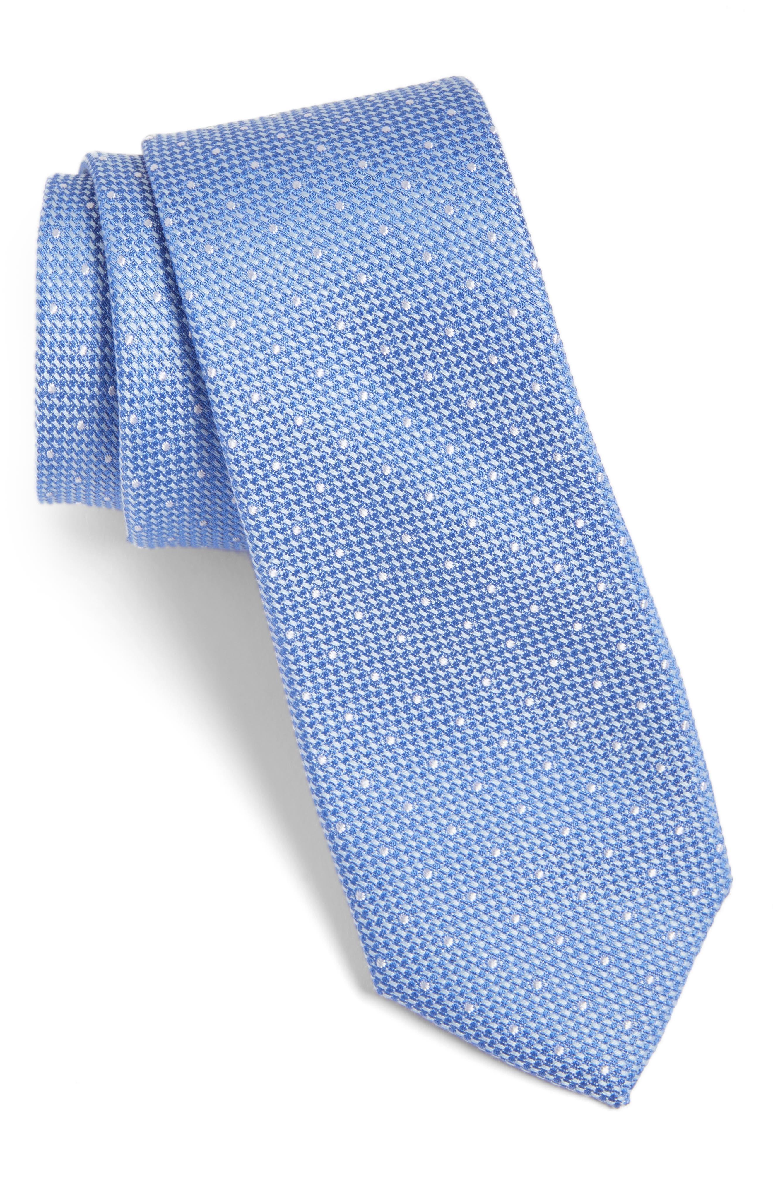 Dot Cotton & Silk Tie,                         Main,                         color, Light Blue