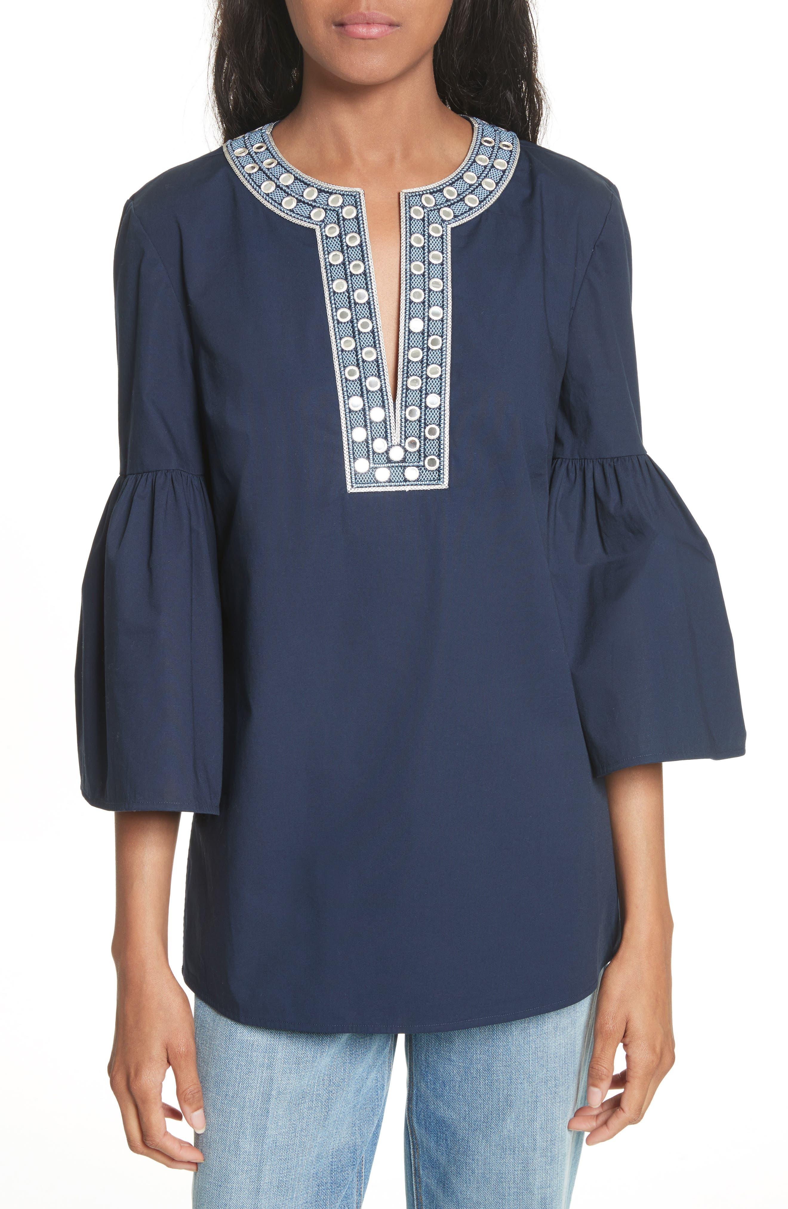 Ariana Bell Sleeve Tunic,                         Main,                         color, Tory Navy