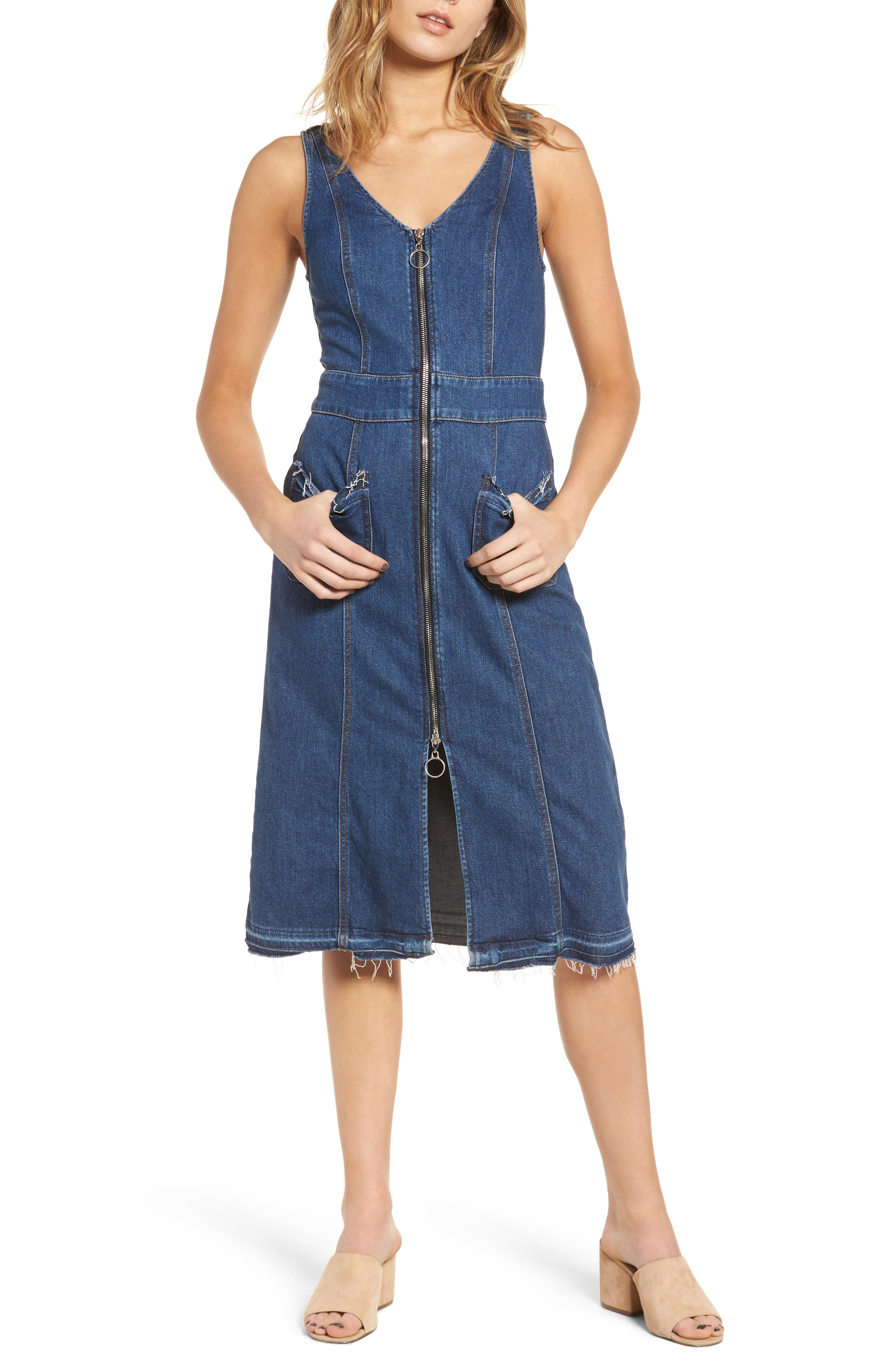 Sleeveless Denim Dress,                         Main,                         color, Sunrise- Lxr4