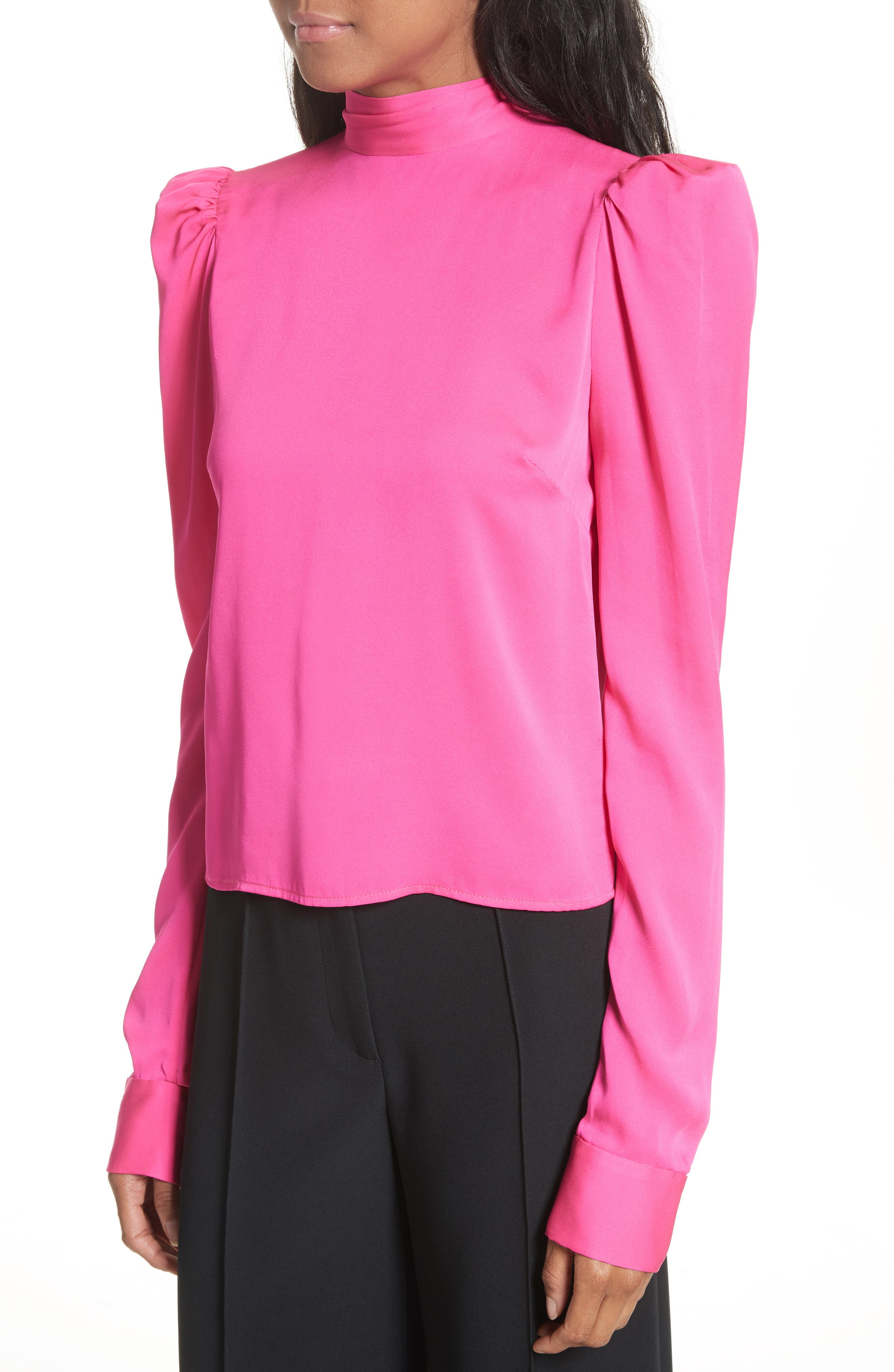 Tie Back Stretch Silk Blouse,                             Alternate thumbnail 4, color,                             Pink