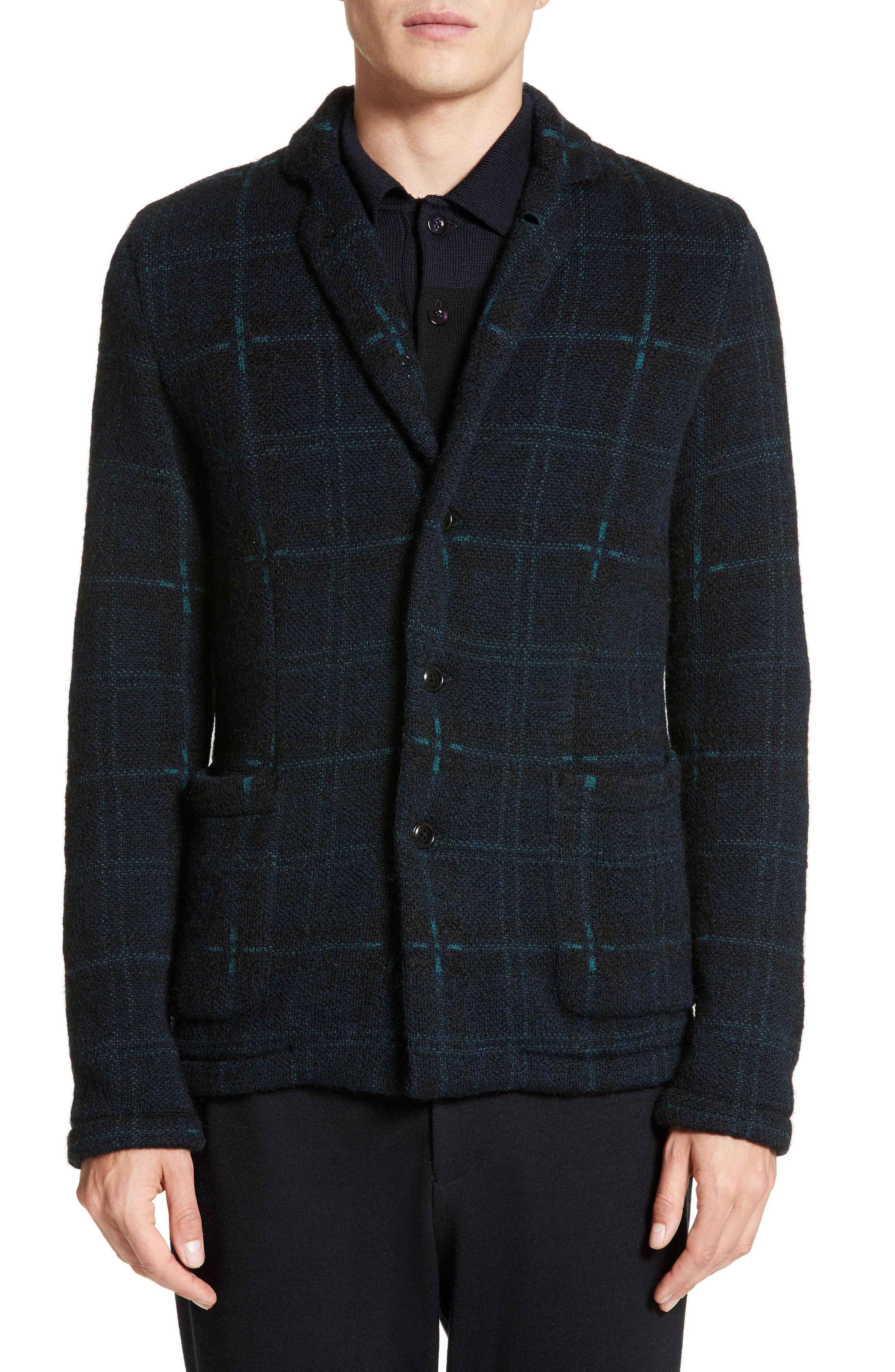 Wool Blend Knit Sportcoat,                             Main thumbnail 1, color,                             Navy
