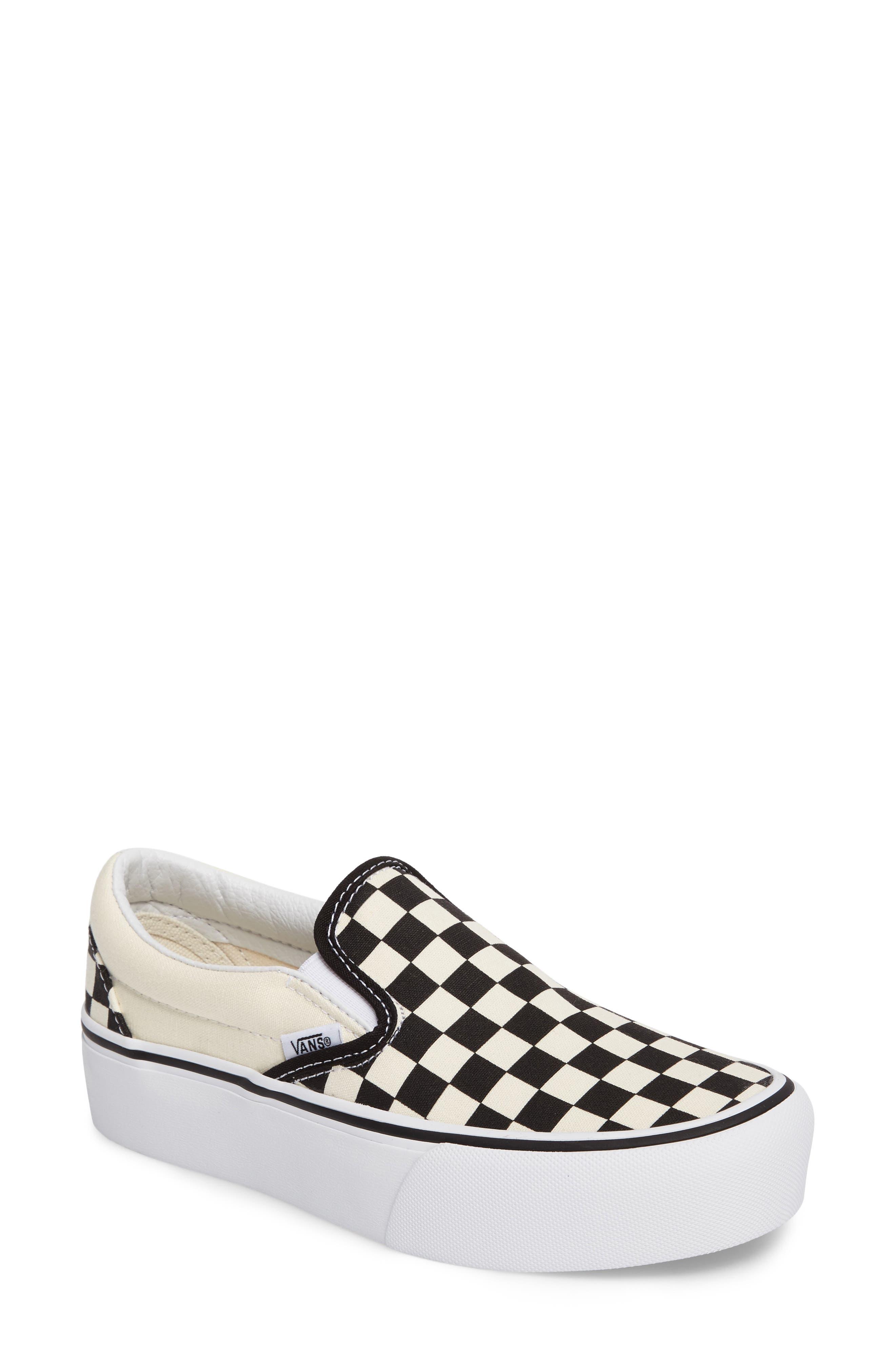 Platform Slip-On Sneaker,                             Main thumbnail 1, color,                             Black/ Black/ White