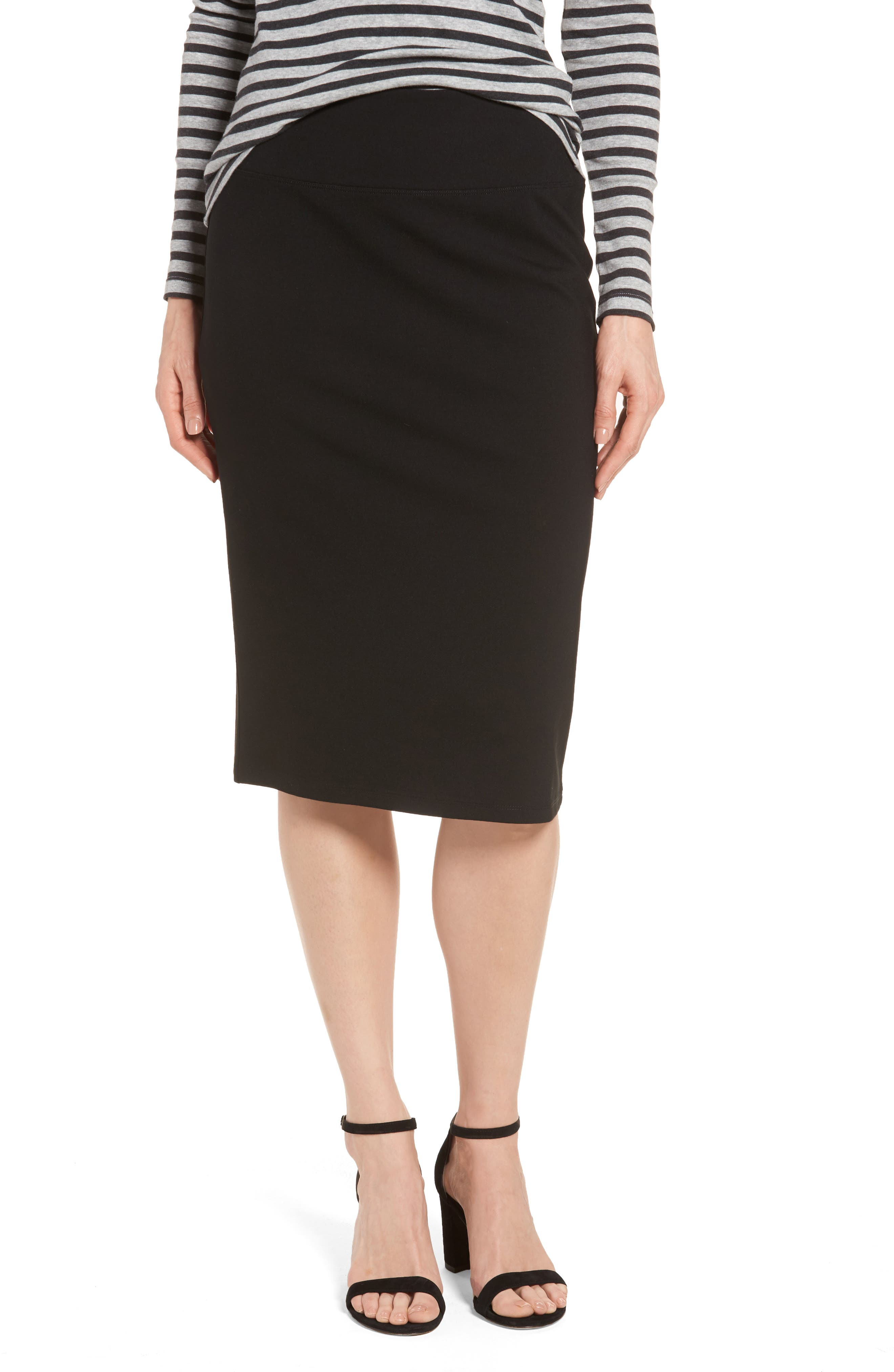 Ponte Pencil Skirt,                         Main,                         color, Black